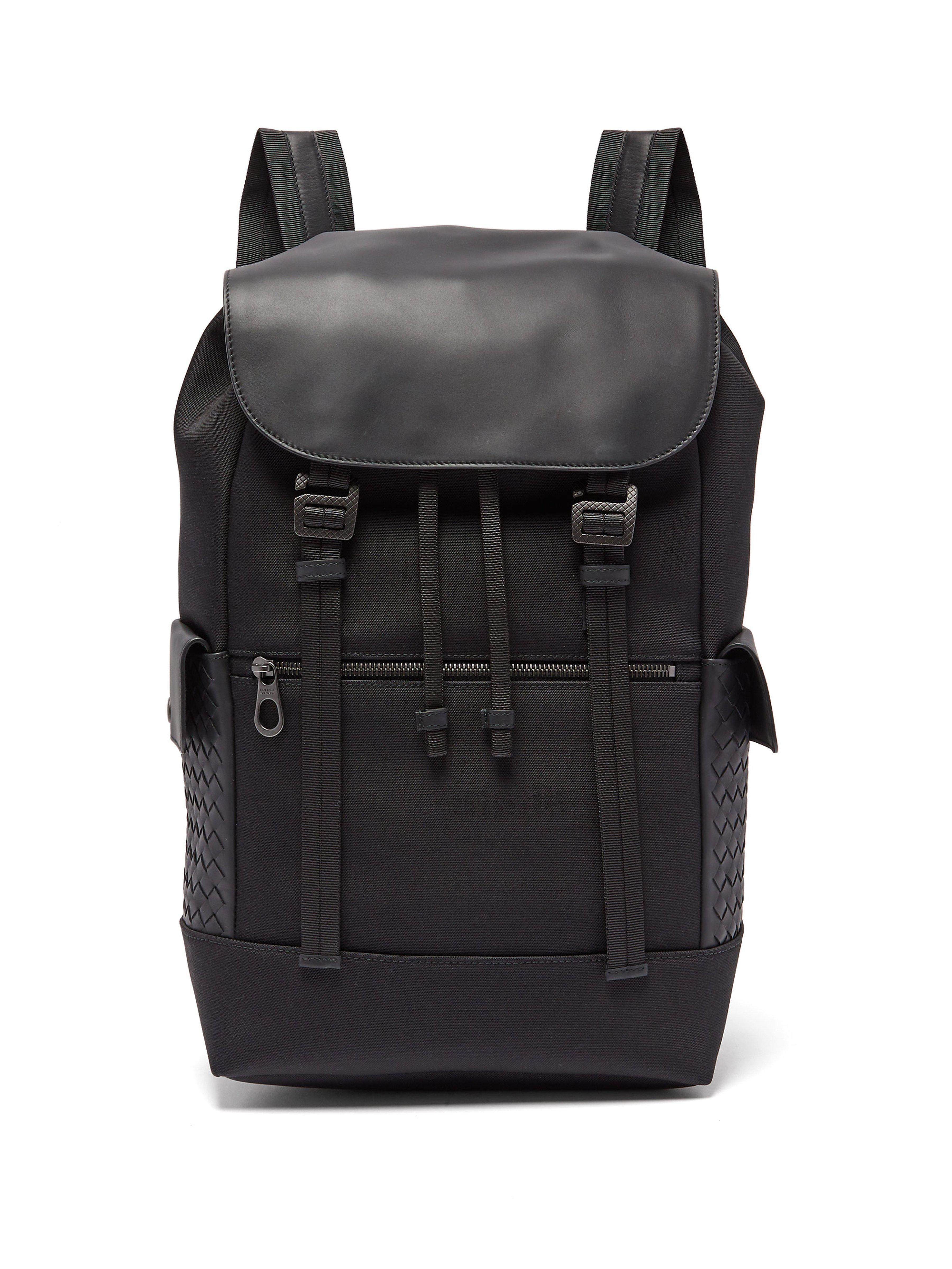 04e96457e5 Bottega Veneta Intrecciato Leather Trimmed Backpack in Black for Men ...