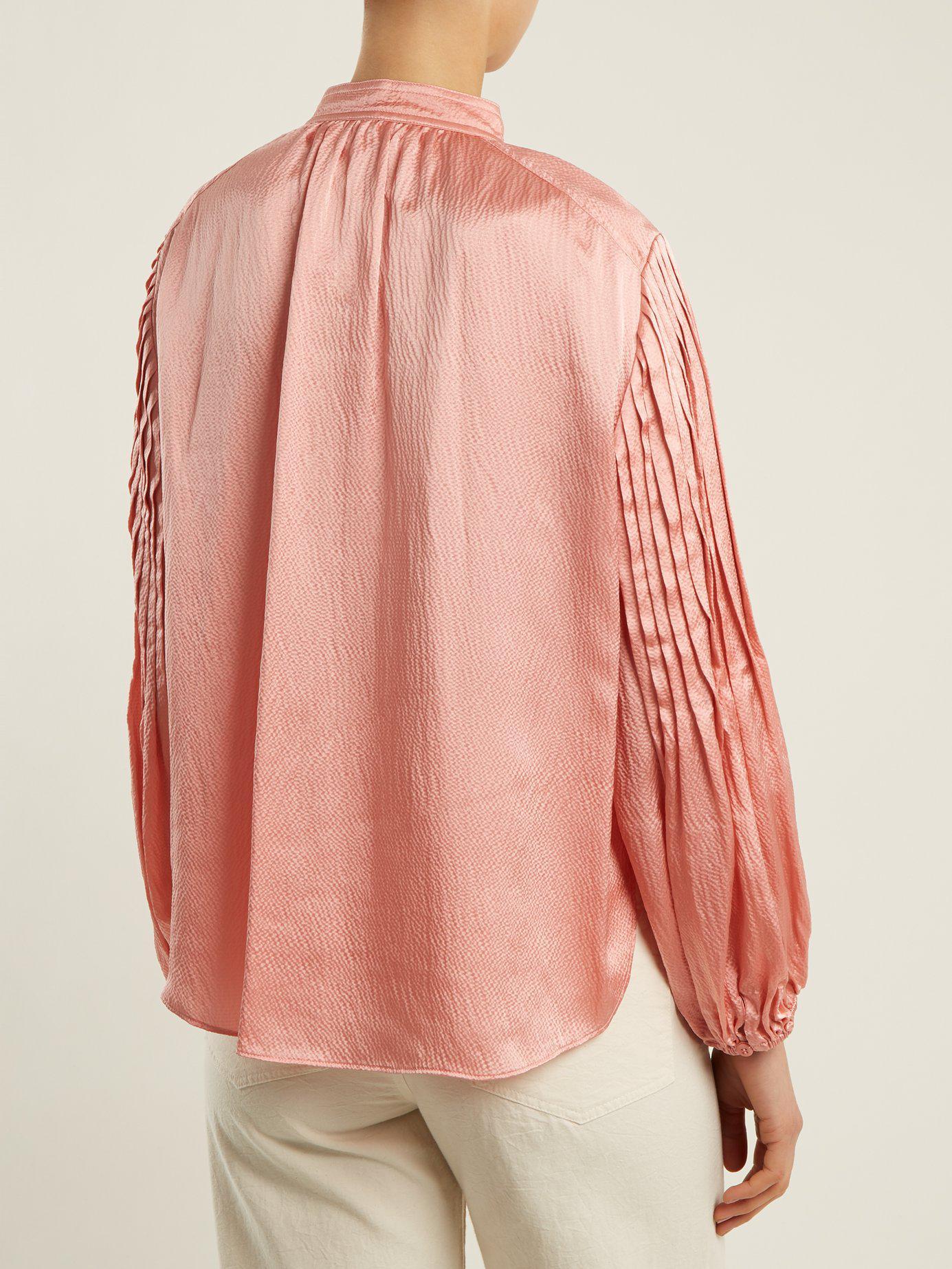 968f6ea0b8777c Apiece Apart Bravo Hammered-silk Top in Pink - Lyst