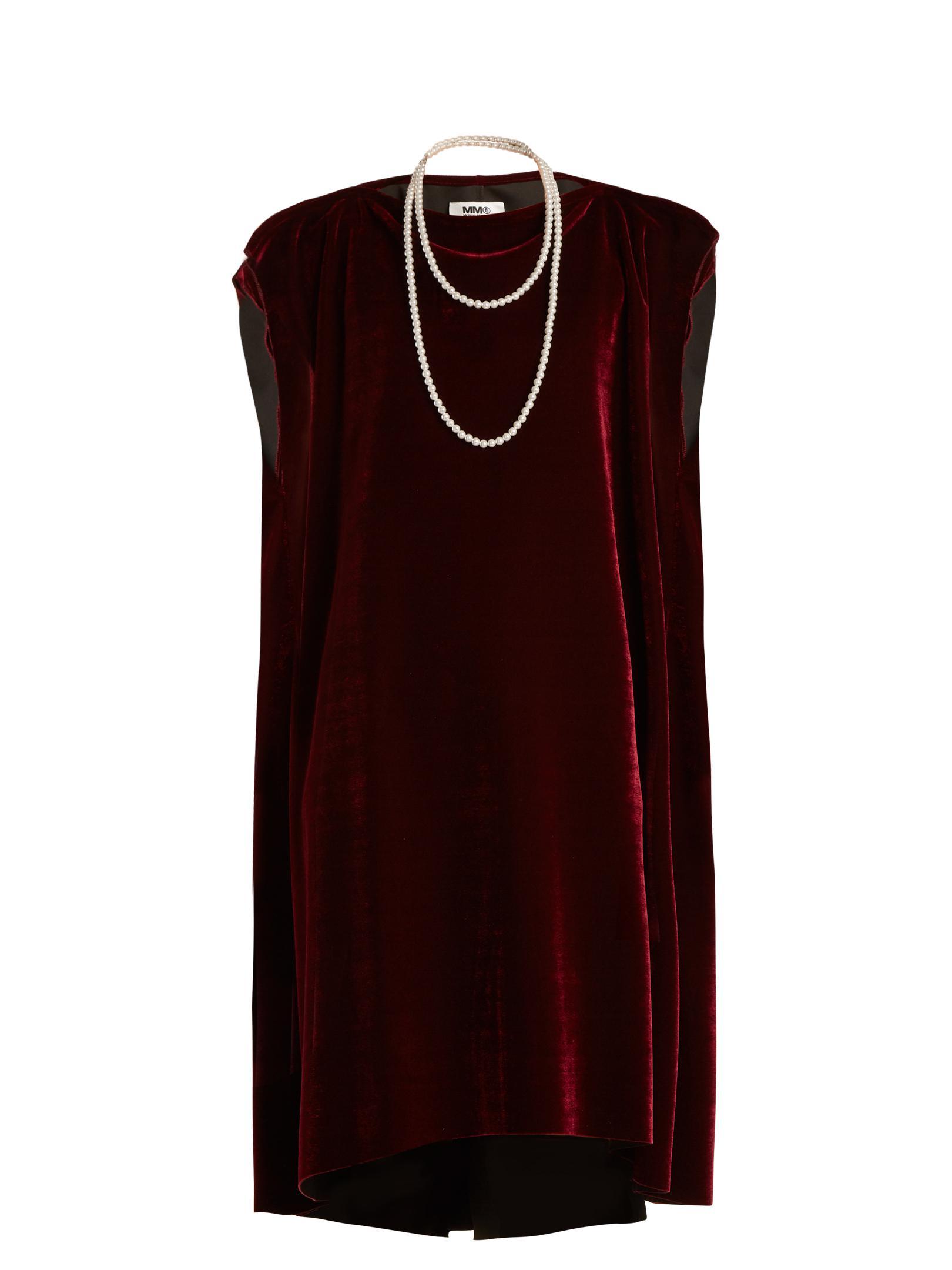 Faux pearl-embellished tie-waist velvet dress Maison Martin Margiela xUKvCy9