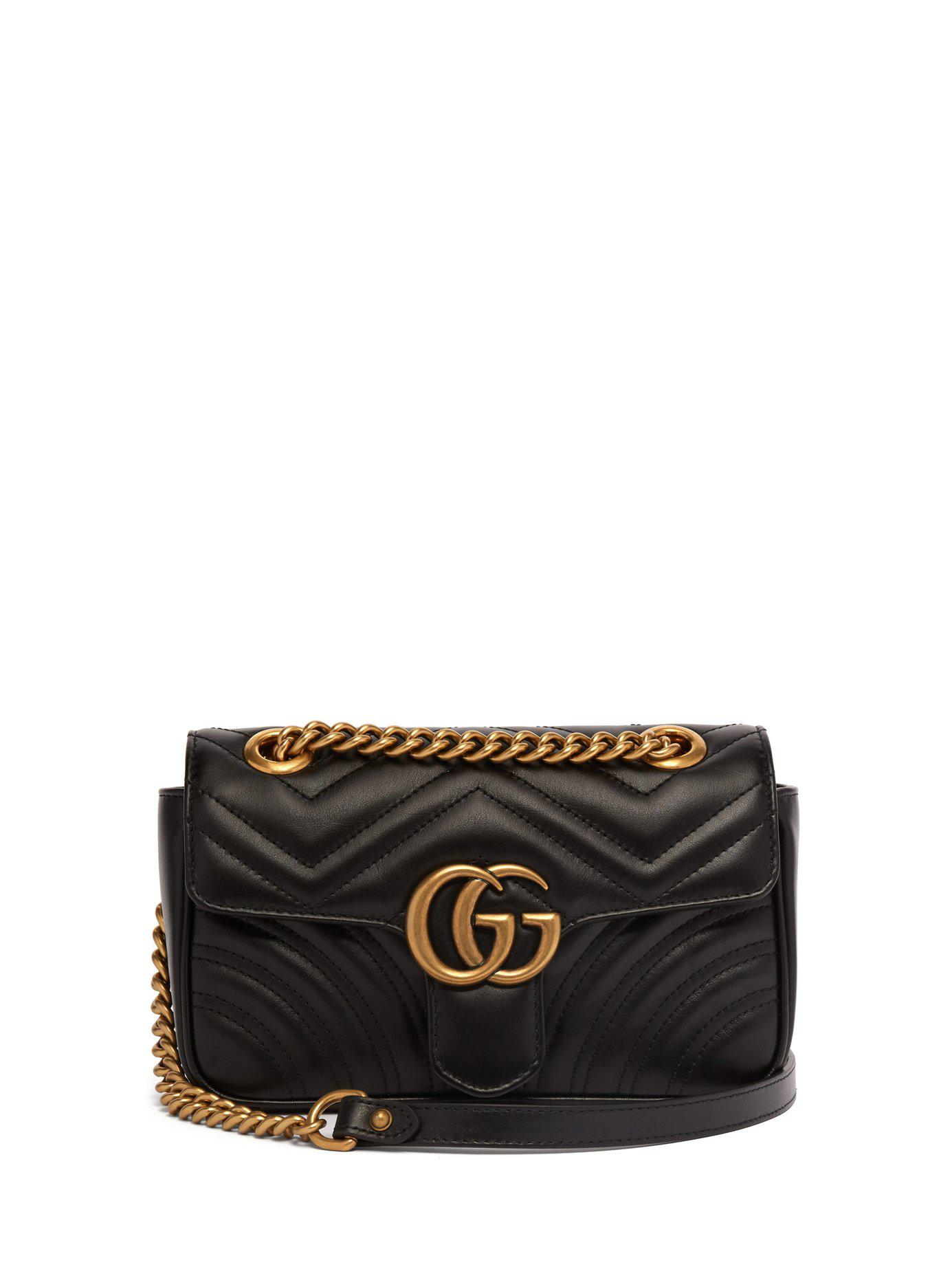 9307ec08b Gucci Gg Marmont Mini Quilted Leather Cross Body Bag in Black - Lyst