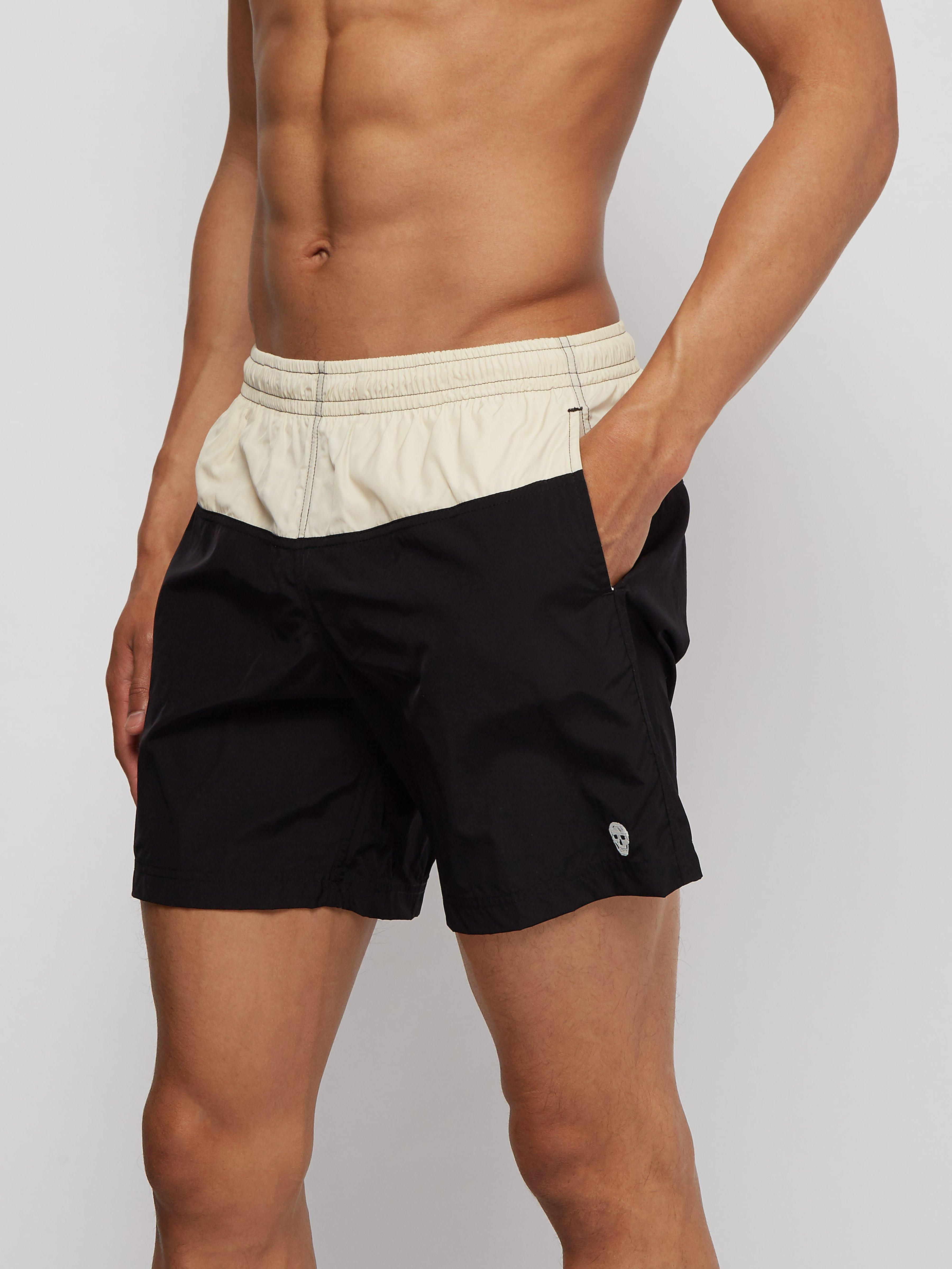 1b4e8cad32 Alexander McQueen - Black Colour Block Skull Embroidered Swim Shorts for Men  - Lyst. View fullscreen