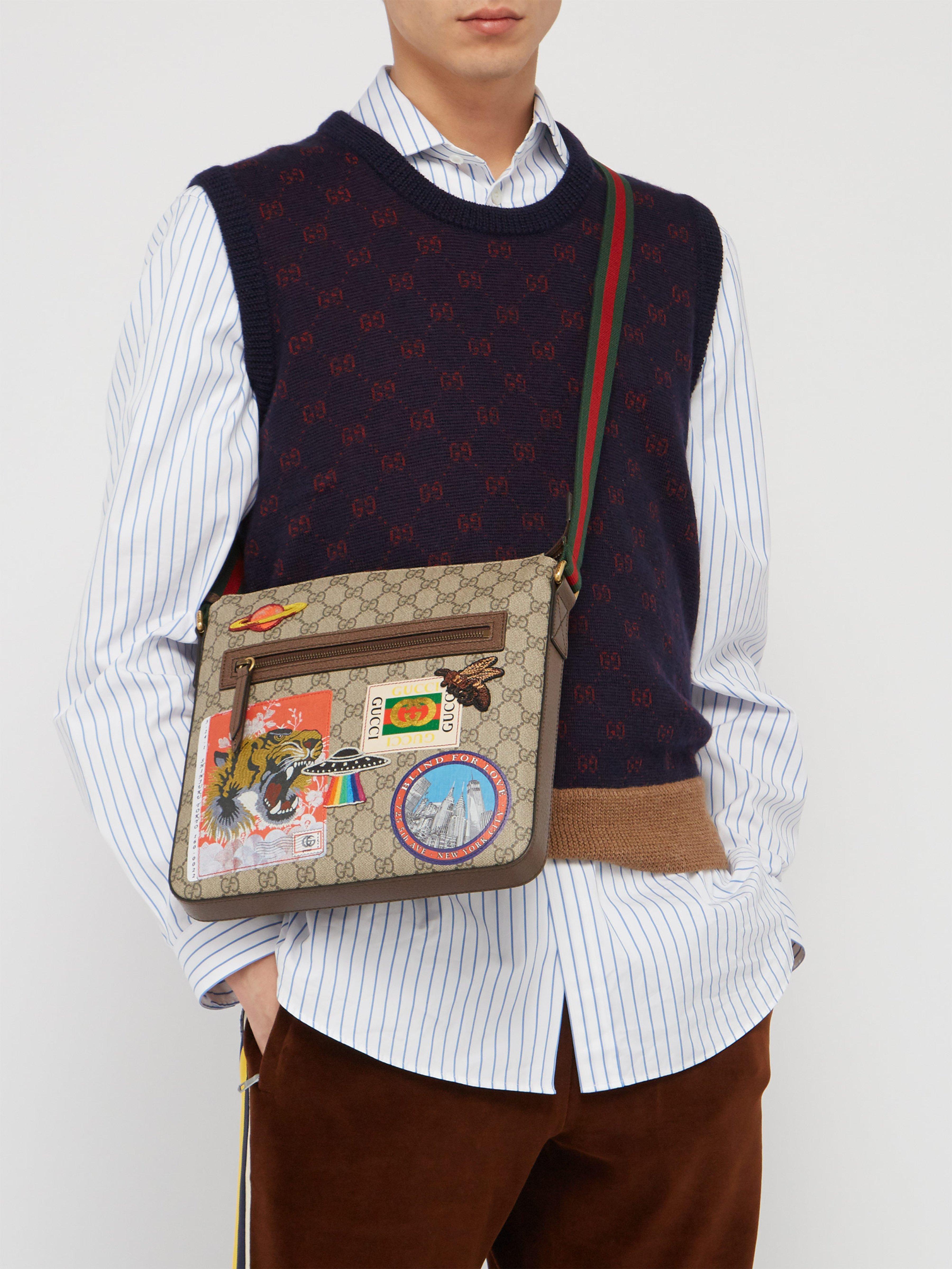 09bd174ba192 Gucci Gg Supreme Ufo Logo Patch Messenger Bag in Brown for Men - Lyst
