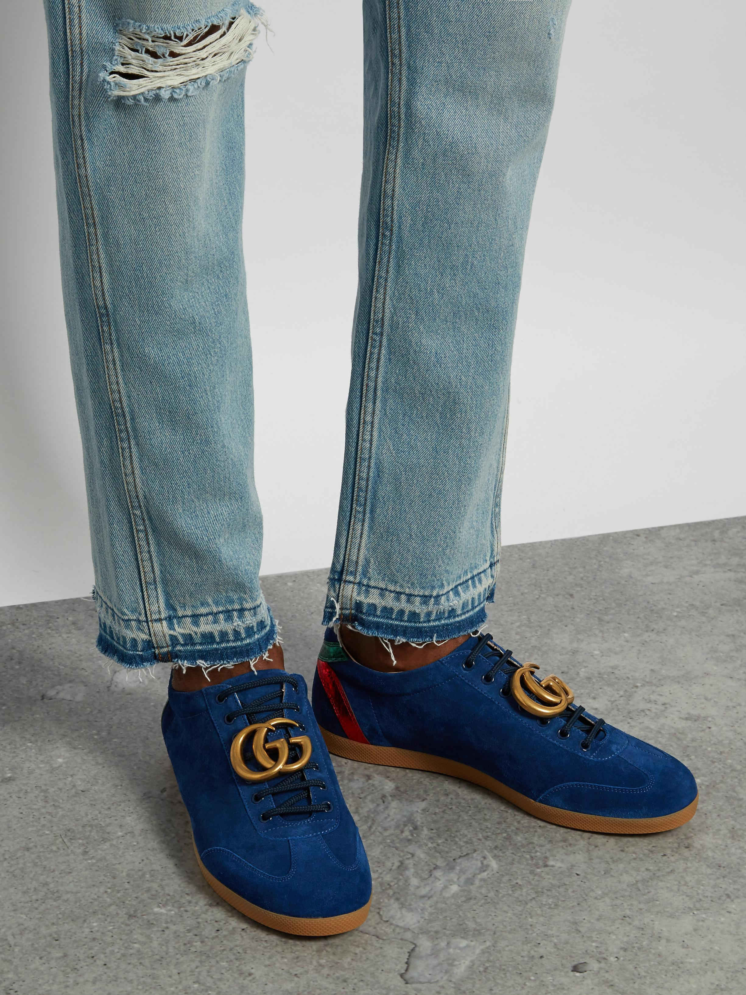 3f18572b4b2c8 Lyst - Gucci Bambi Suede Trainers in Blue for Men