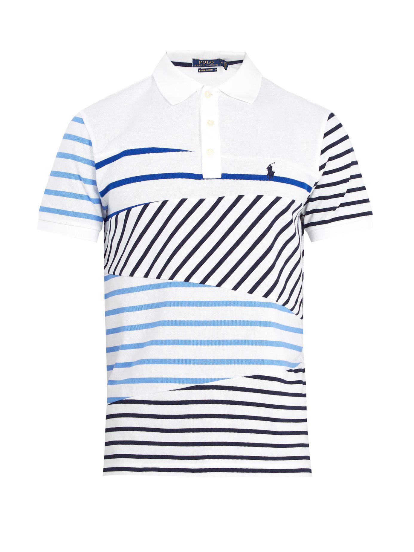 2291e58b Polo Ralph Lauren - White Logo-embroidered Striped Cotton-piqué Polo Shirt  for Men