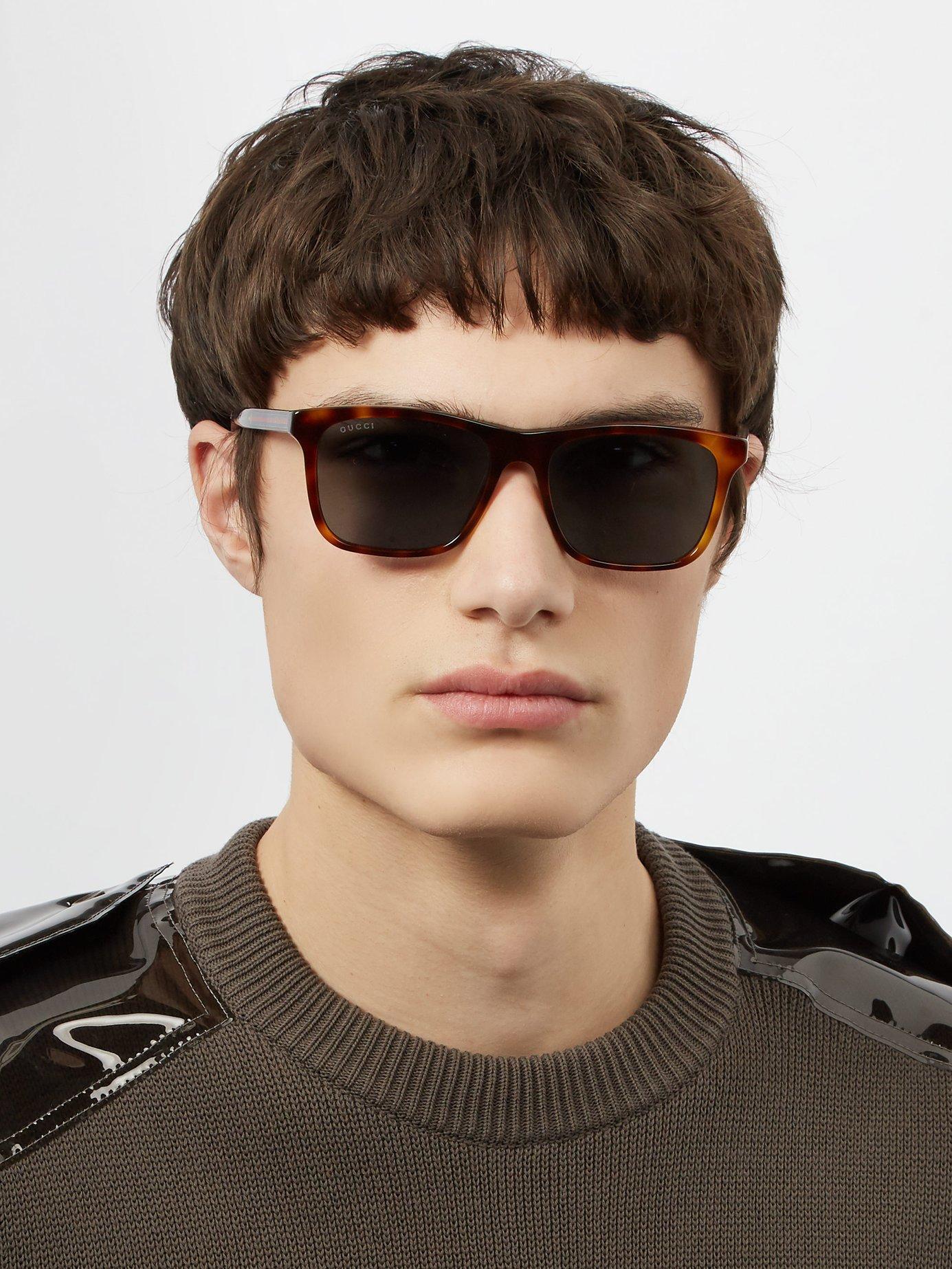 fd1cd9908f12 Gucci Brown Square Acetate Sunglasses for men. View fullscreen