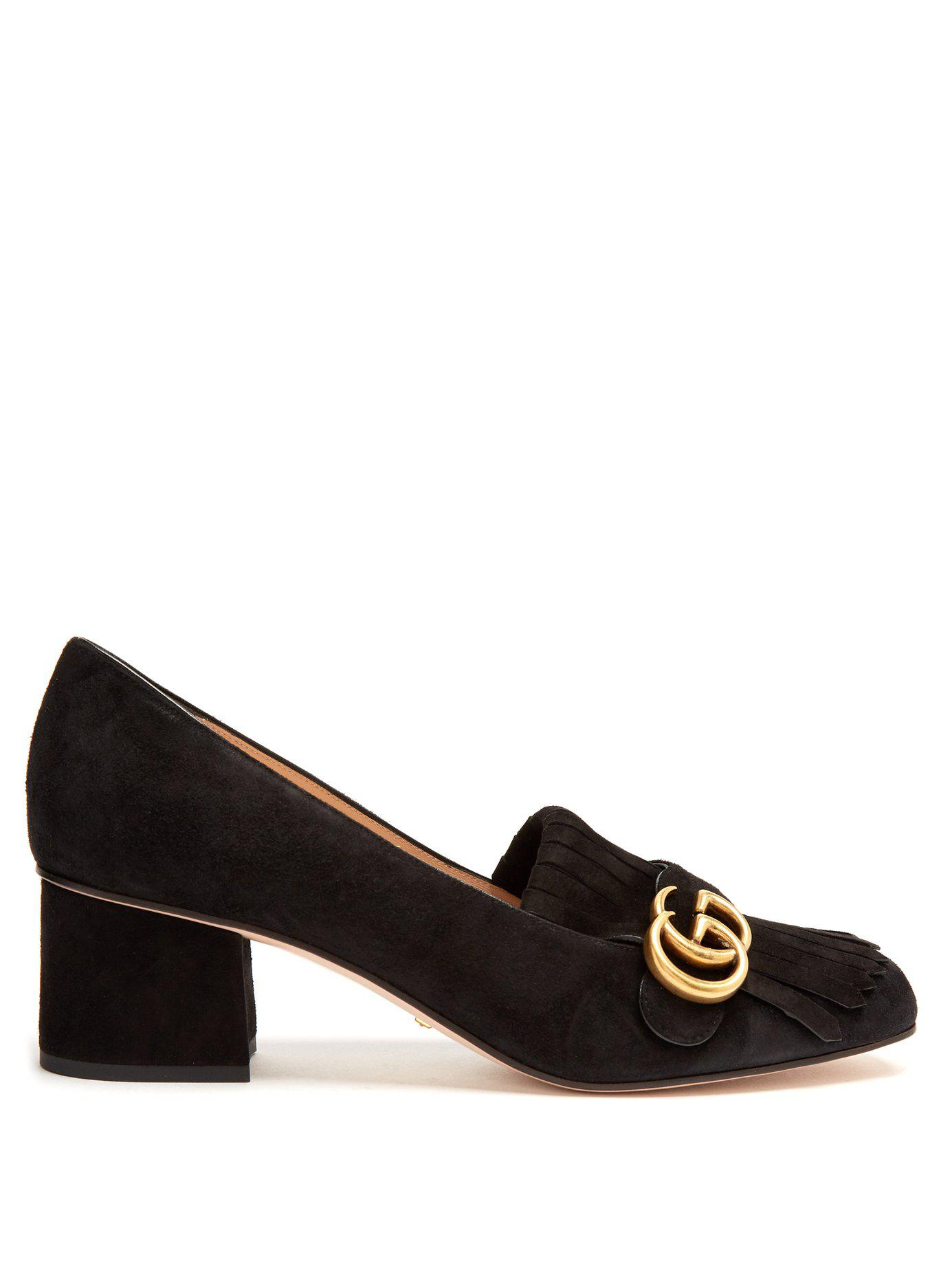 a4771739ab3 Lyst - Gucci Marmont Fringed Suede Loafers in Black - Save 6%
