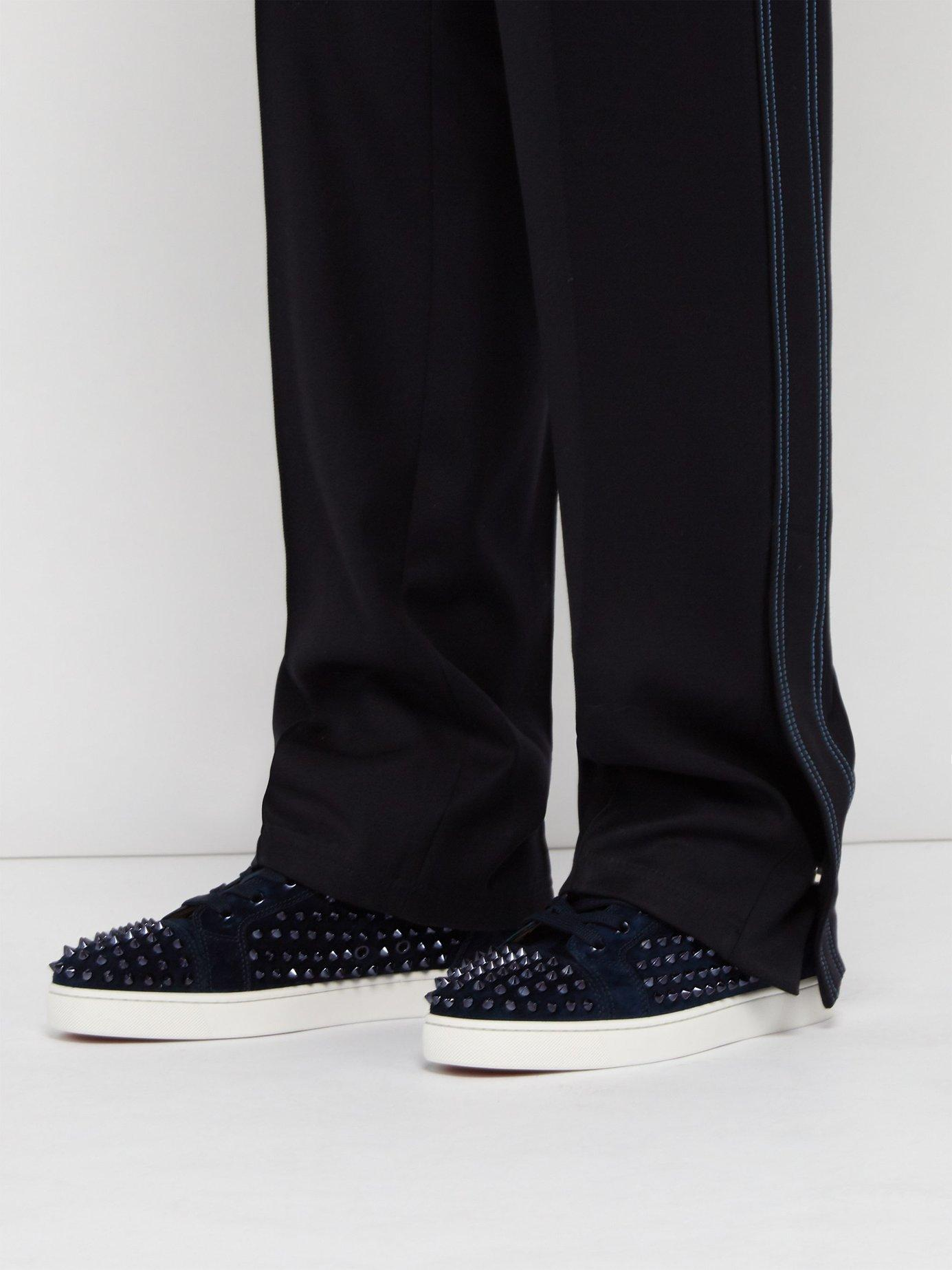 5ba5e079365 Lyst - Christian Louboutin Louis Spiked Leather High Top Trainers in Blue  for Men