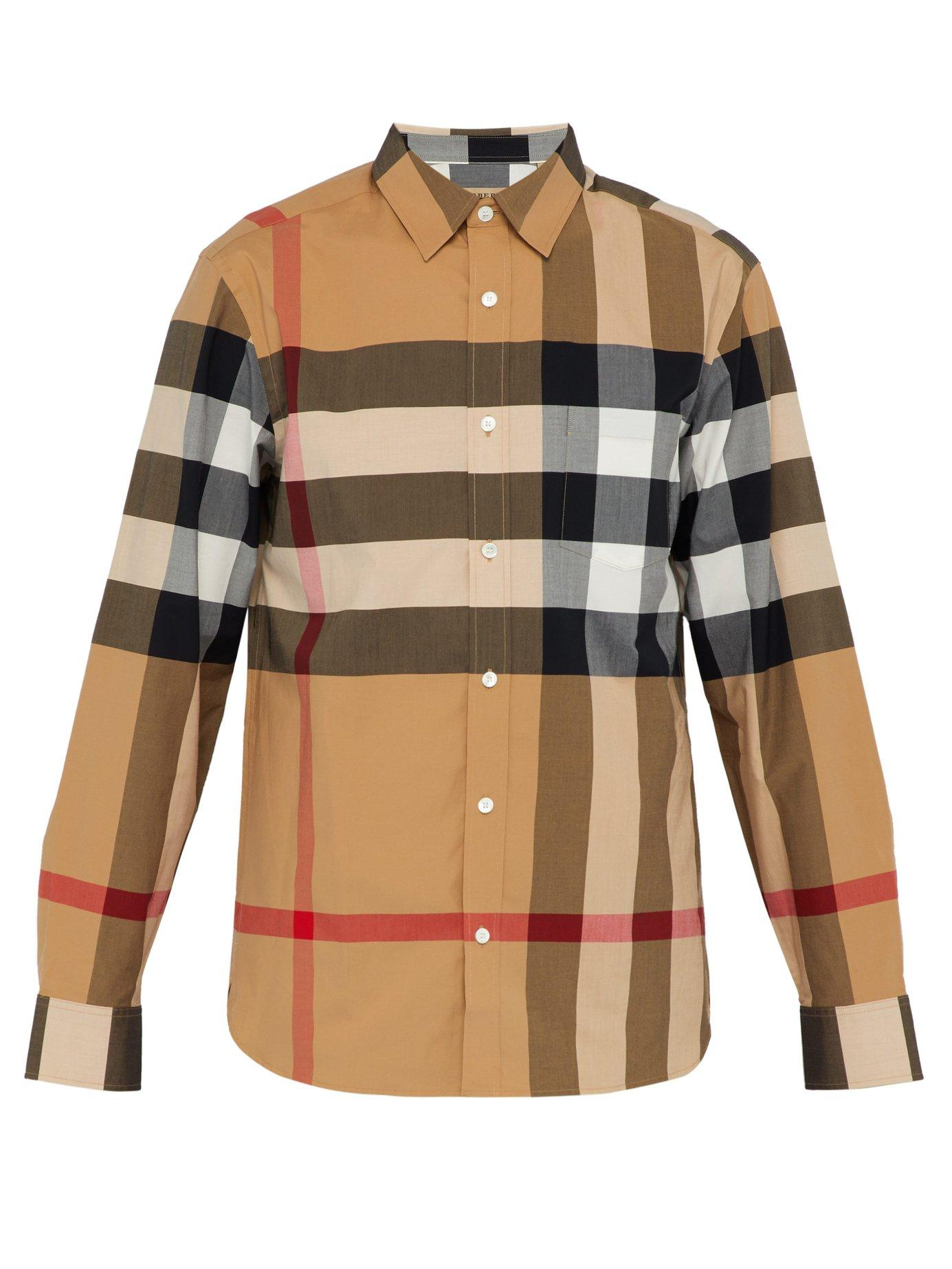 Lyst - Burberry Short-sleeve Check Stretch Cotton Shirt for Men ... 5206eabe02