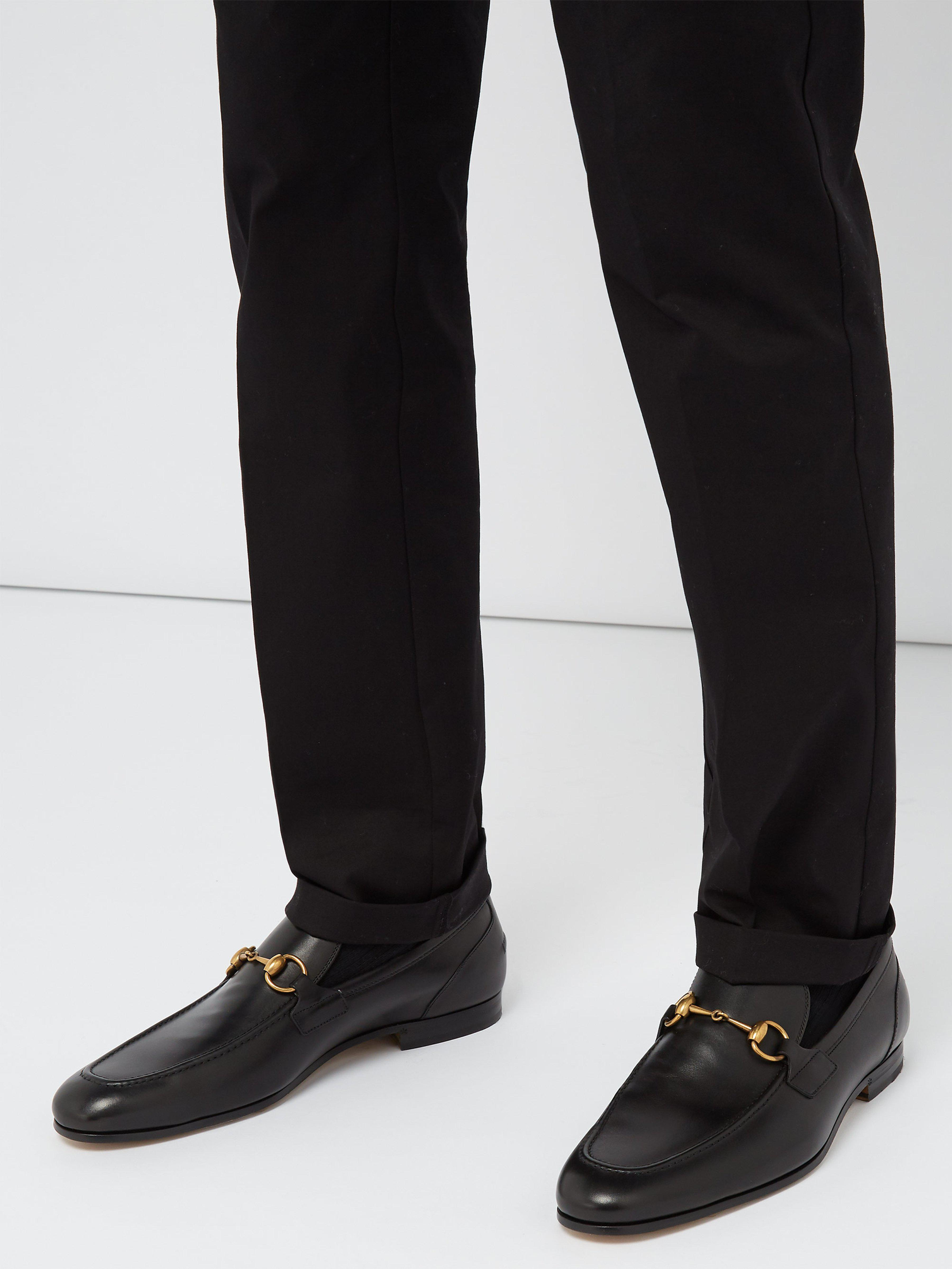 8fc1c55cd07 Gucci - Black Jordaan Leather Loafers for Men - Lyst. View fullscreen
