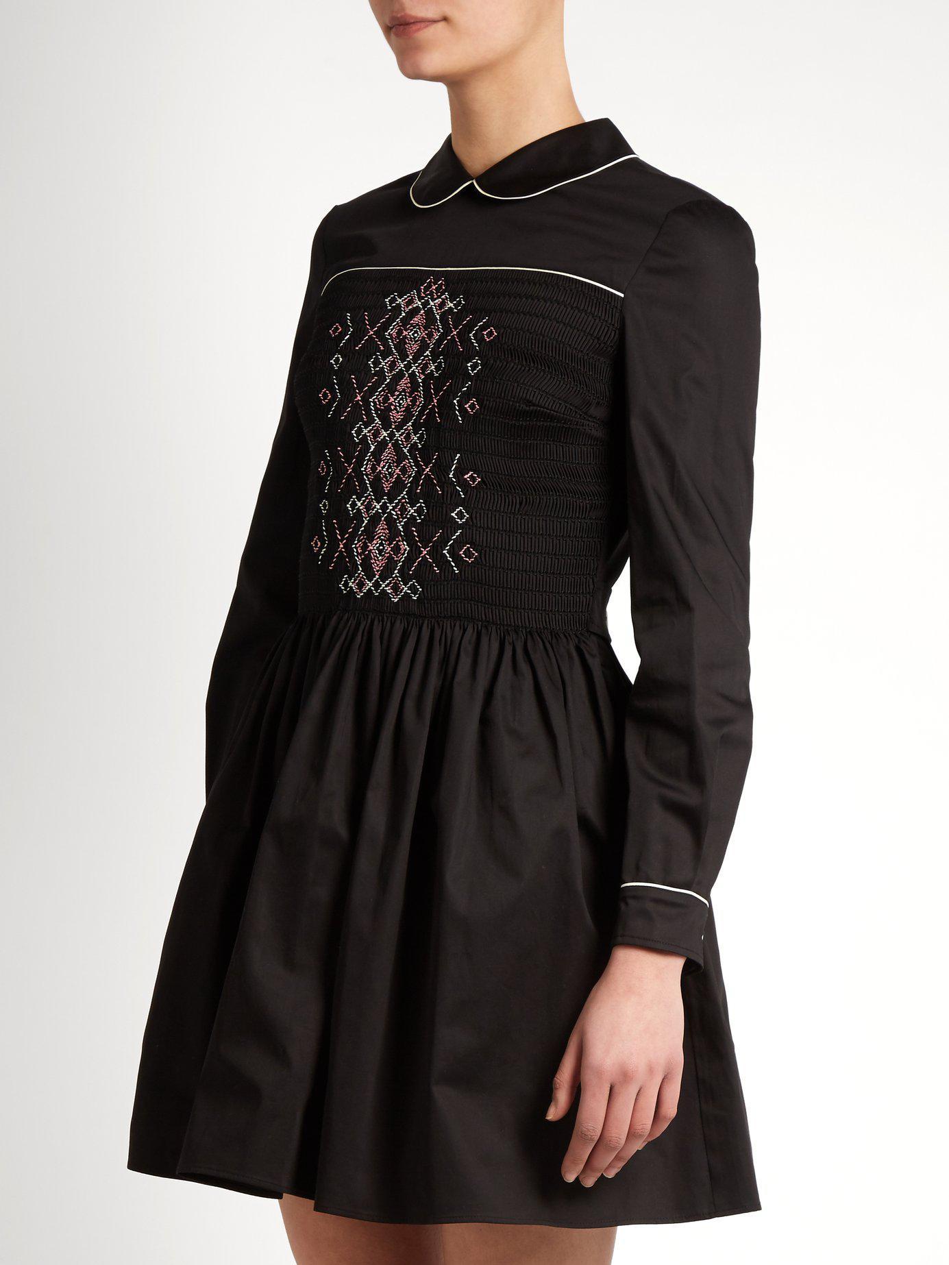 ed52dcbd0b6 Lyst - Miu Miu Smocked-front Cotton Mini Dress in Black