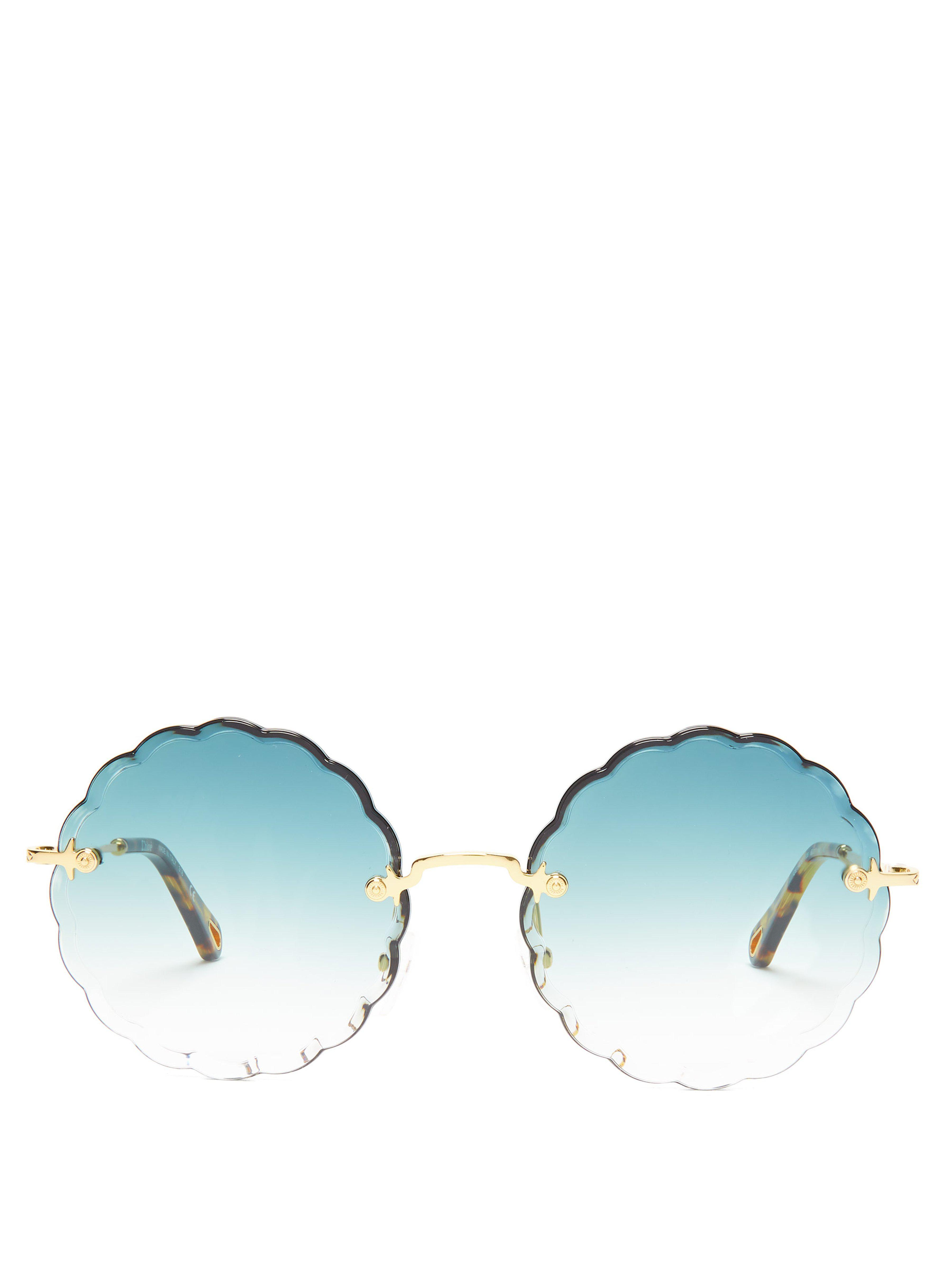 79bf52d488 Chloé Rosie Round Frame Sunglasses in Green - Save 3% - Lyst