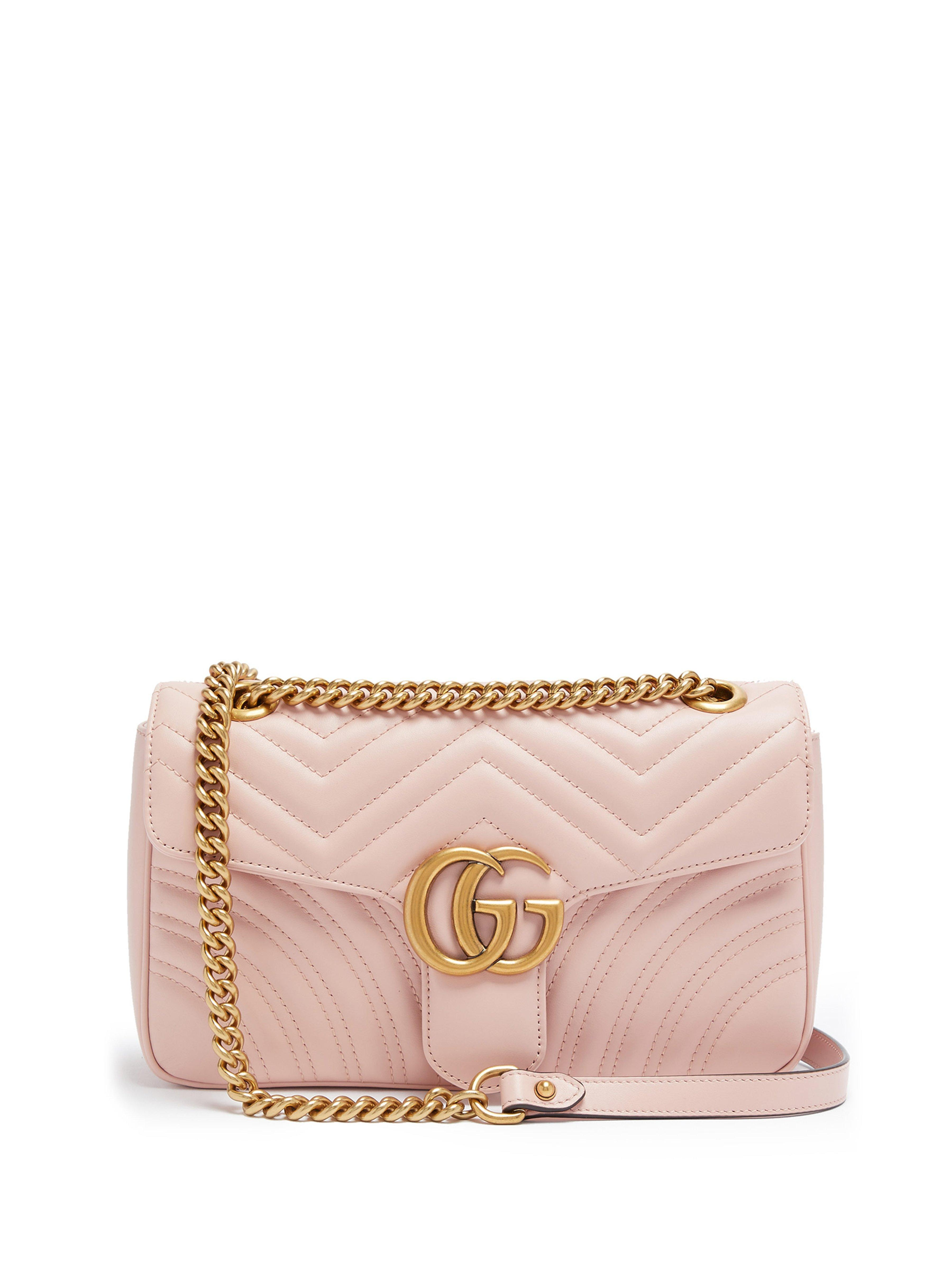 0a54874e18bb Gucci Gg Marmont Small Quilted Leather Shoulder Bag in Pink - Save ...