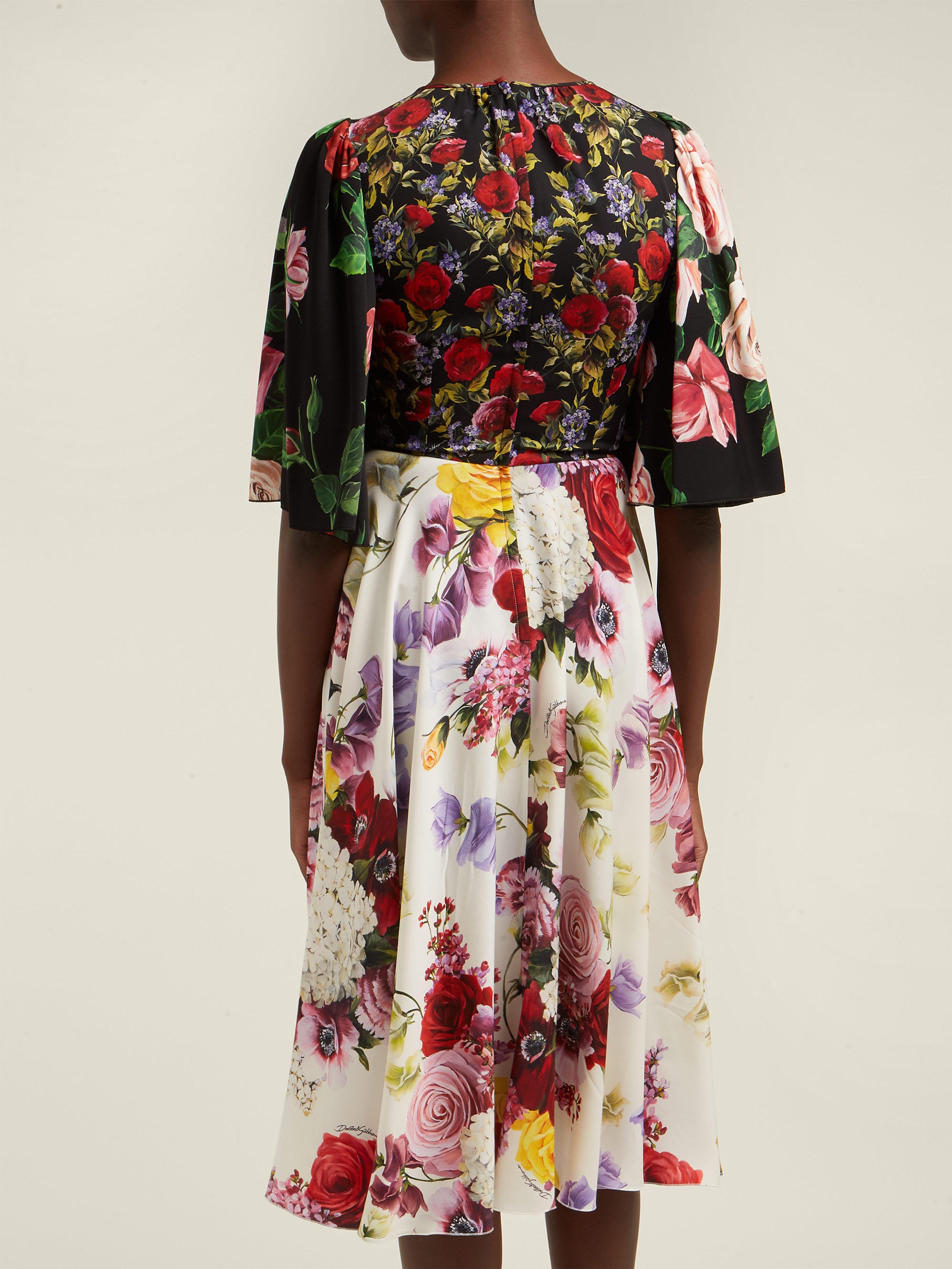 71a686d1 Dolce & Gabbana - Black Rose And Hydrangea Print Silk Charmeuse Midi Dress  - Lyst. View fullscreen