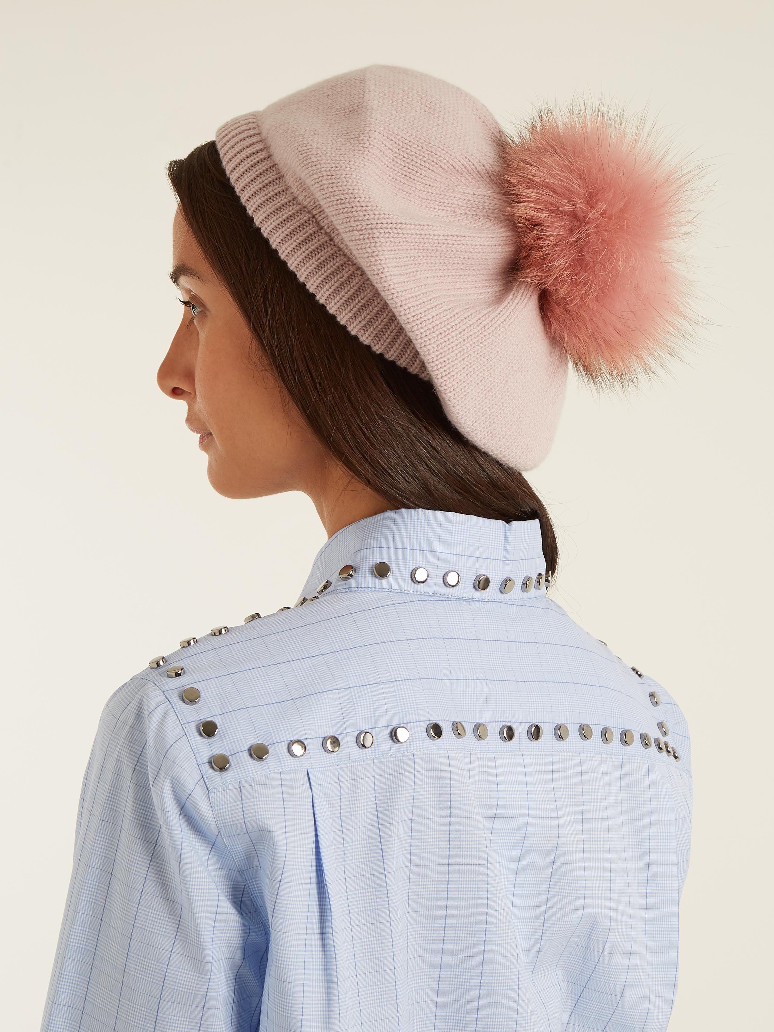 Lyst - Miu Miu Fur-pompom Wool And Cashmere-blend Beret in Pink 14e2aad1efd