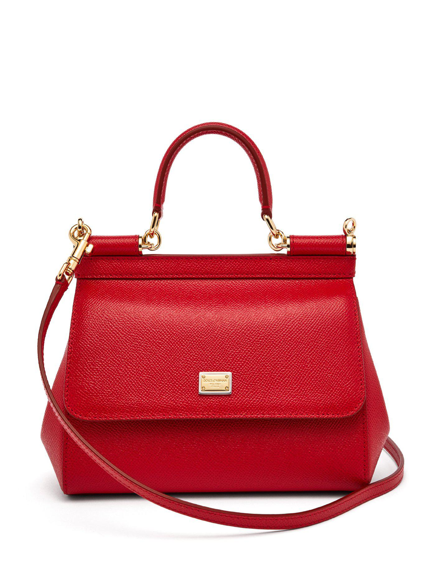 a8a475fddb Lyst - Dolce   Gabbana Sicily Small Dauphine Leather Bag in Red
