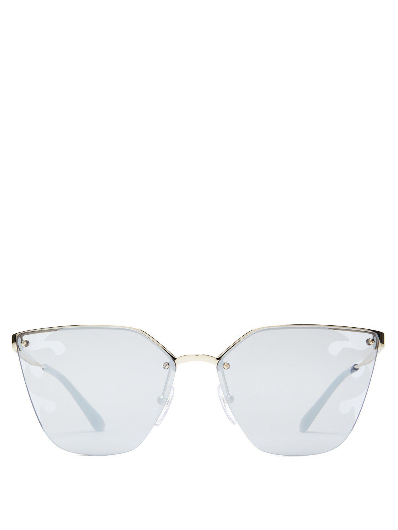e72c26e8bce Lyst - Prada Mirrored Flame Cat Eye Sunglasses in Black