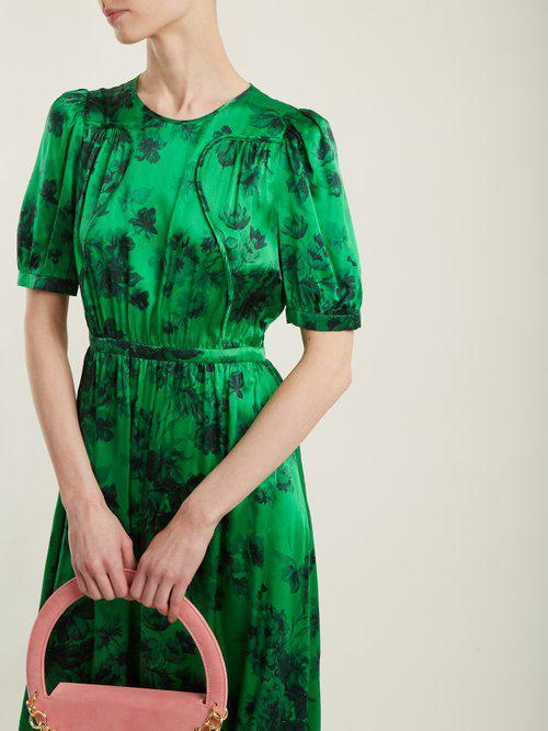 N°21 Floral-print Silk-satin Gown in Green Print (Green)