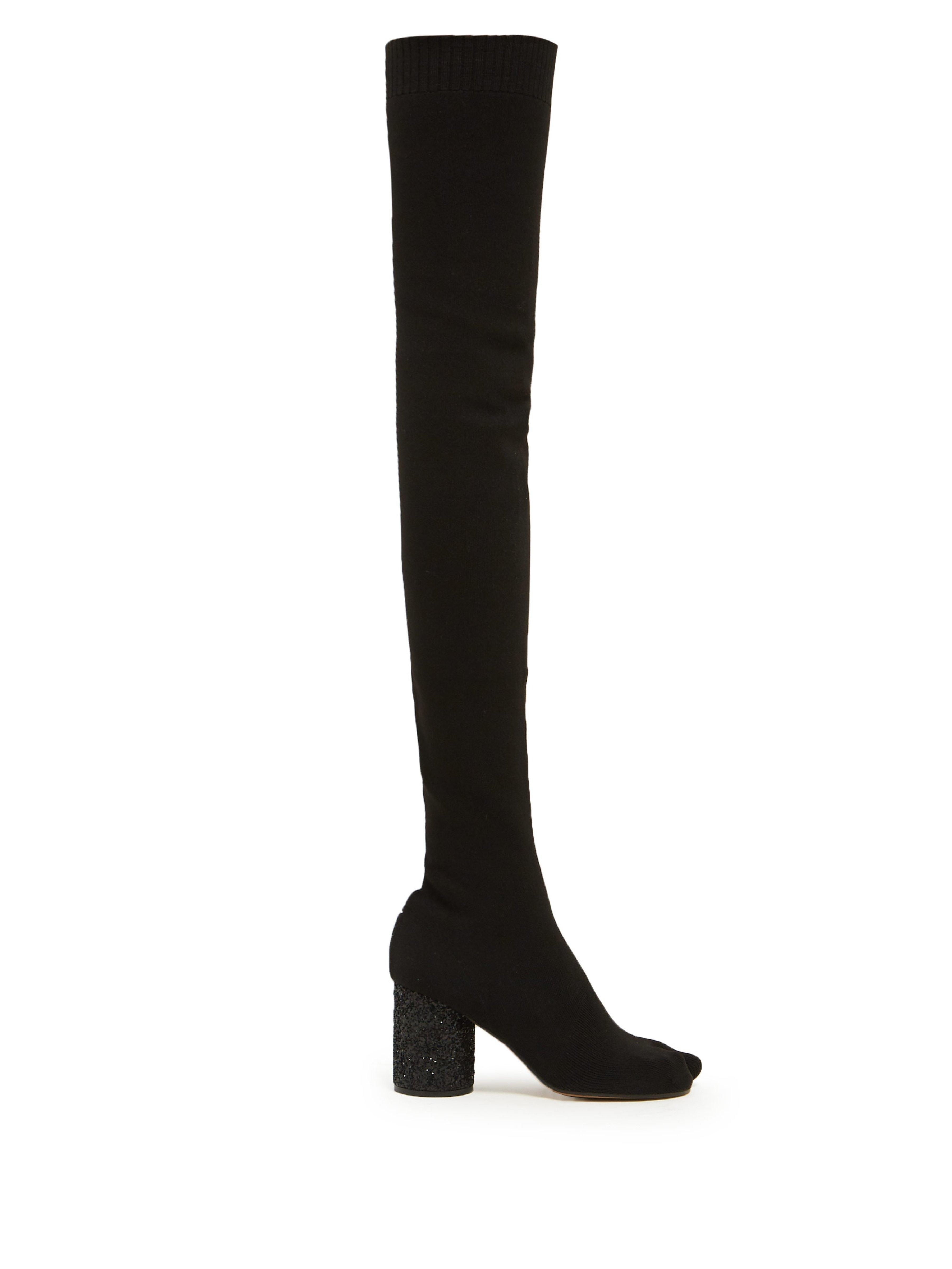 288b5684980 Maison Margiela. Women s Black Tabi Split Toe Glitter Heel Over The Knee  Boots