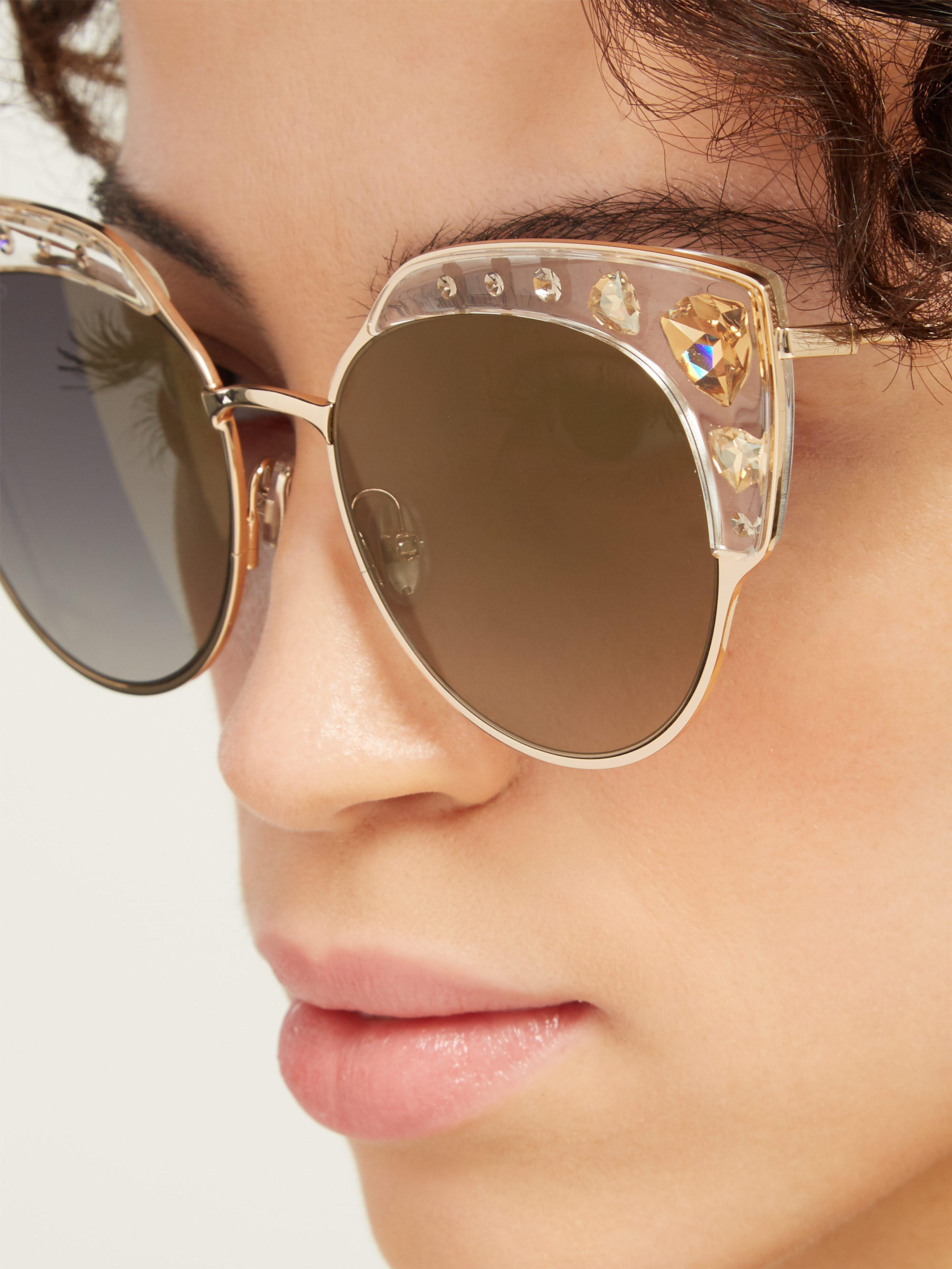 74349c52c620 Jimmy Choo Audrey Crystal Cat Eye Sunglasses - Lyst