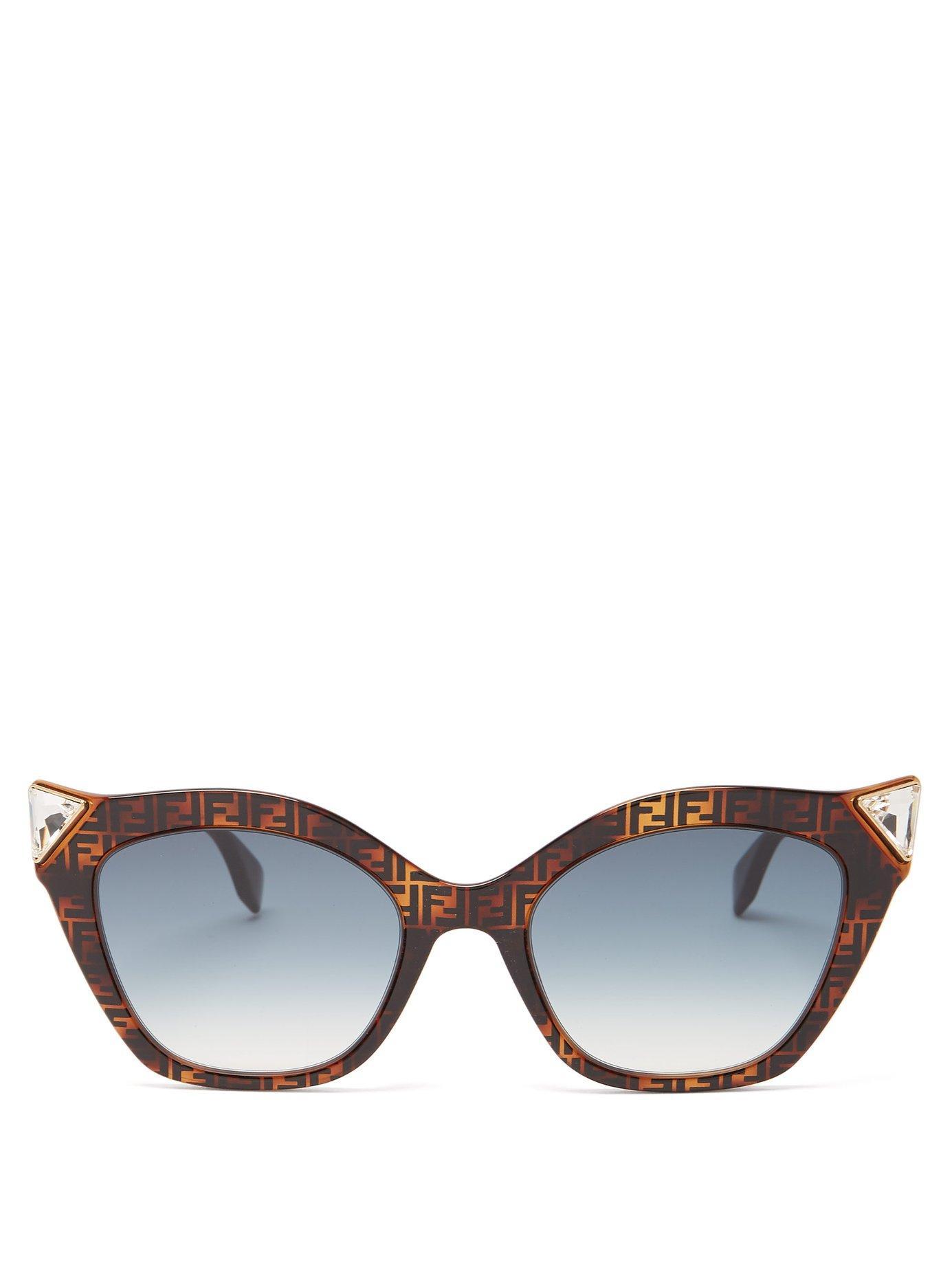 839d0611c6d5 Lyst - Fendi Havana Tortoiseshell Acetate Cat Eye Sunglasses in Brown