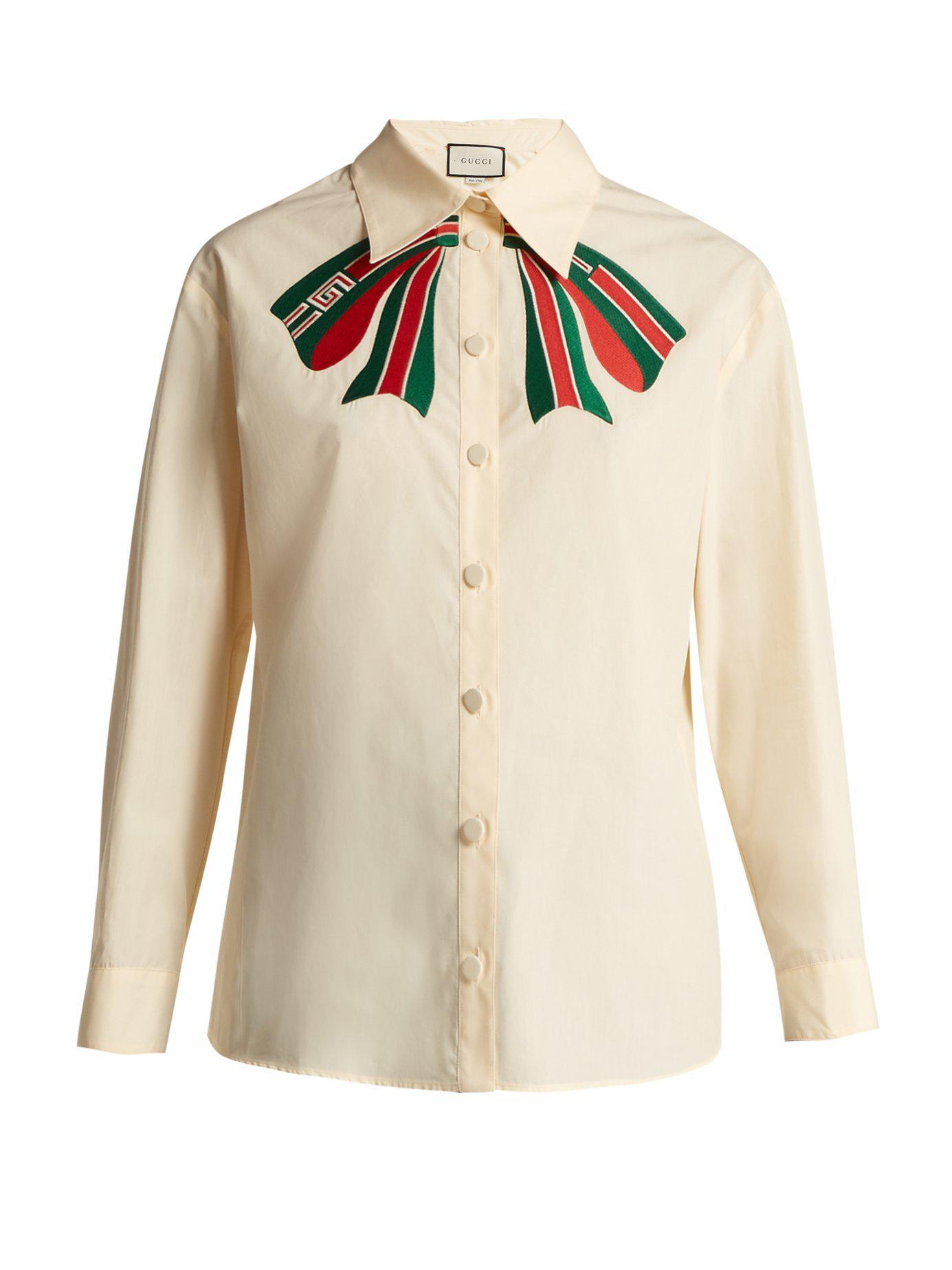 c7e411d8 Lyst - Gucci Trompe L'oeil Bow Cotton Poplin Shirt in White