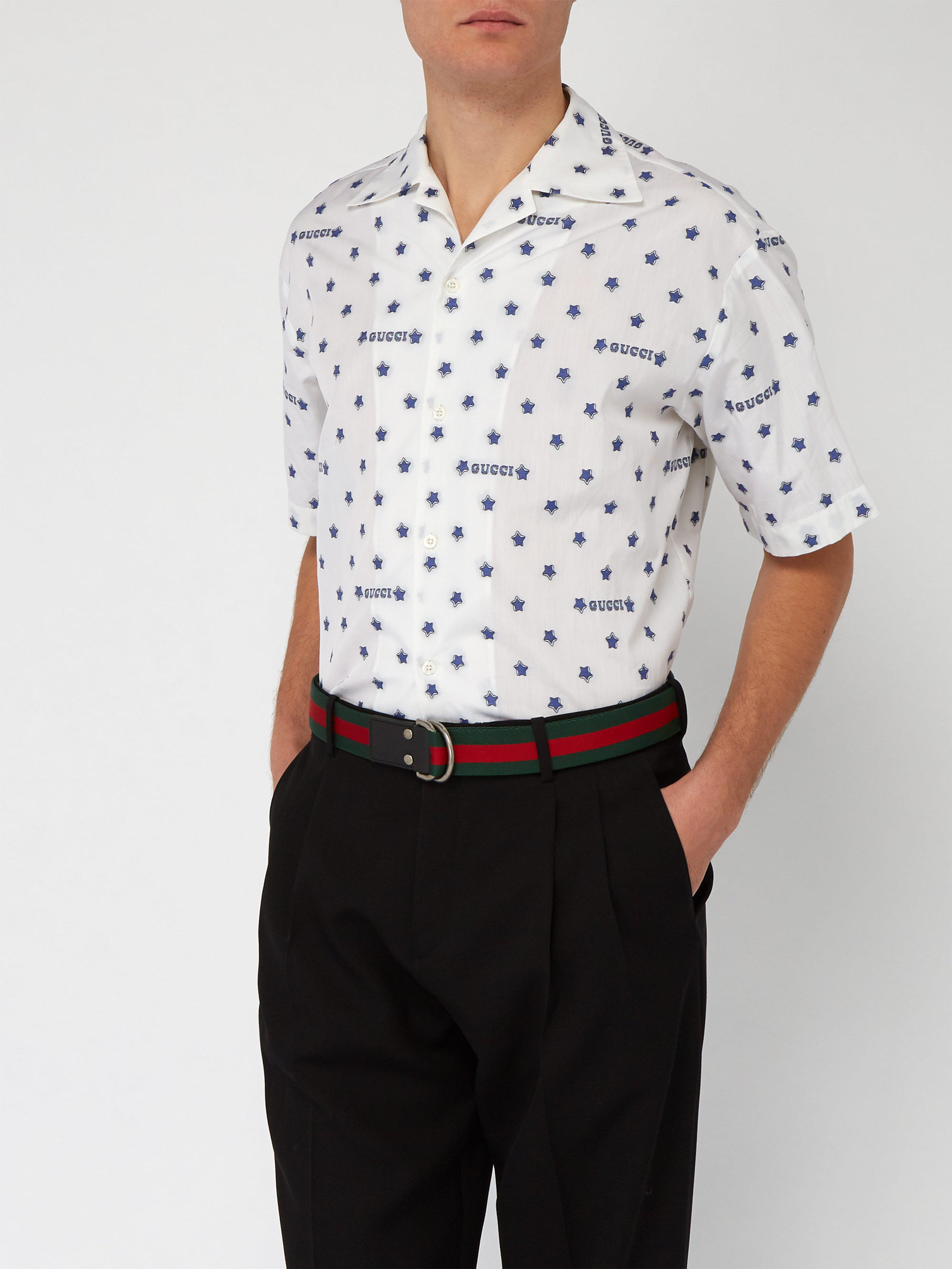 33043af233d Gucci Web Striped Canvas Belt in Green for Men - Lyst
