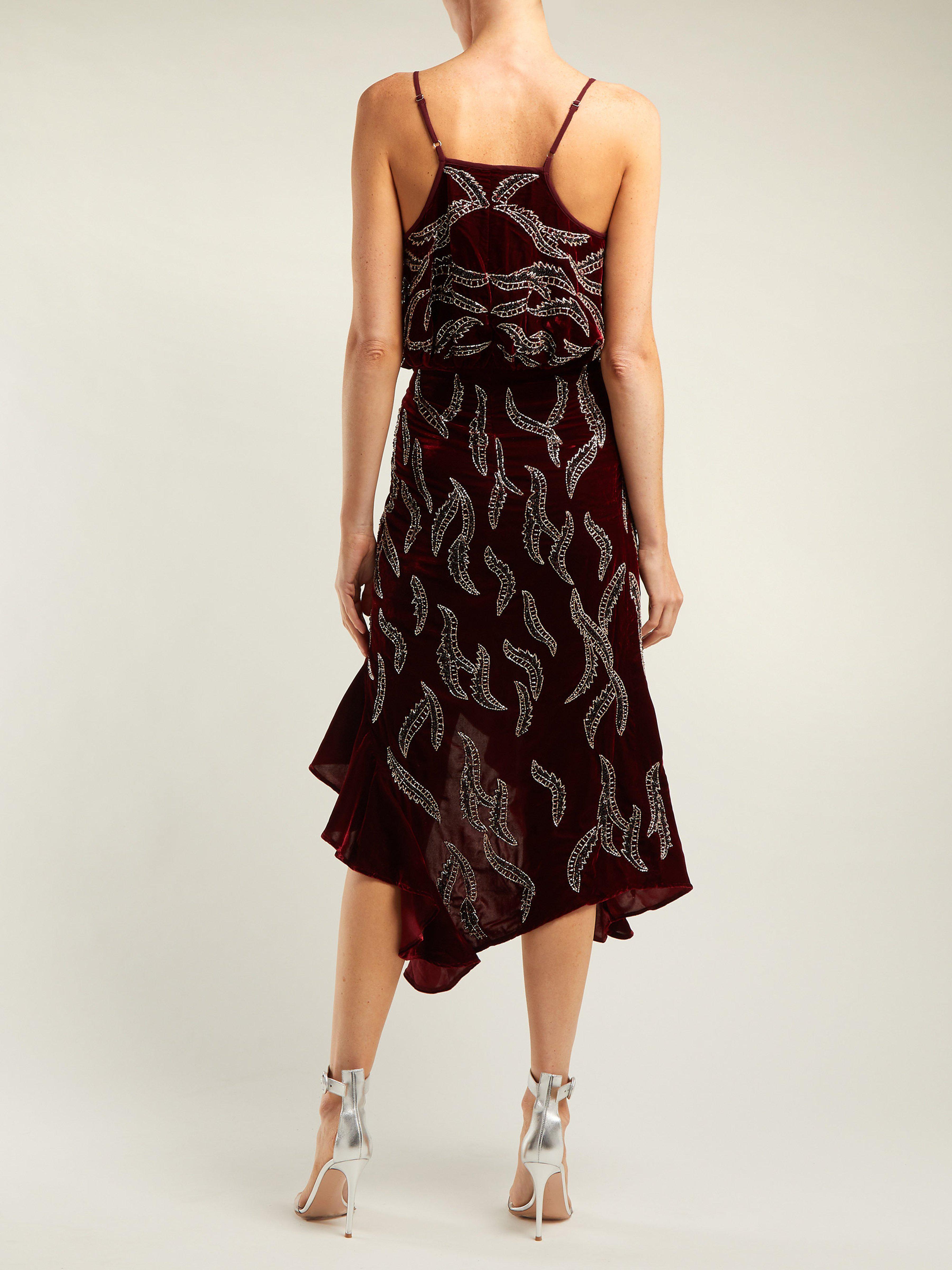 6cbc2e9601 Dodo Bar Or - Red Agnes Bead Embellished Velvet Dress - Lyst. View  fullscreen