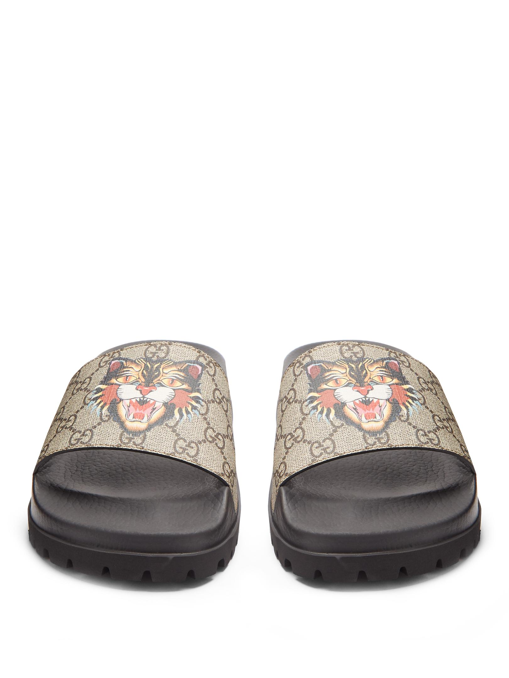 5f2e5df8aeda Lyst - Gucci Pursuit Track Angry Cat-print Gg Supreme Slides for Men
