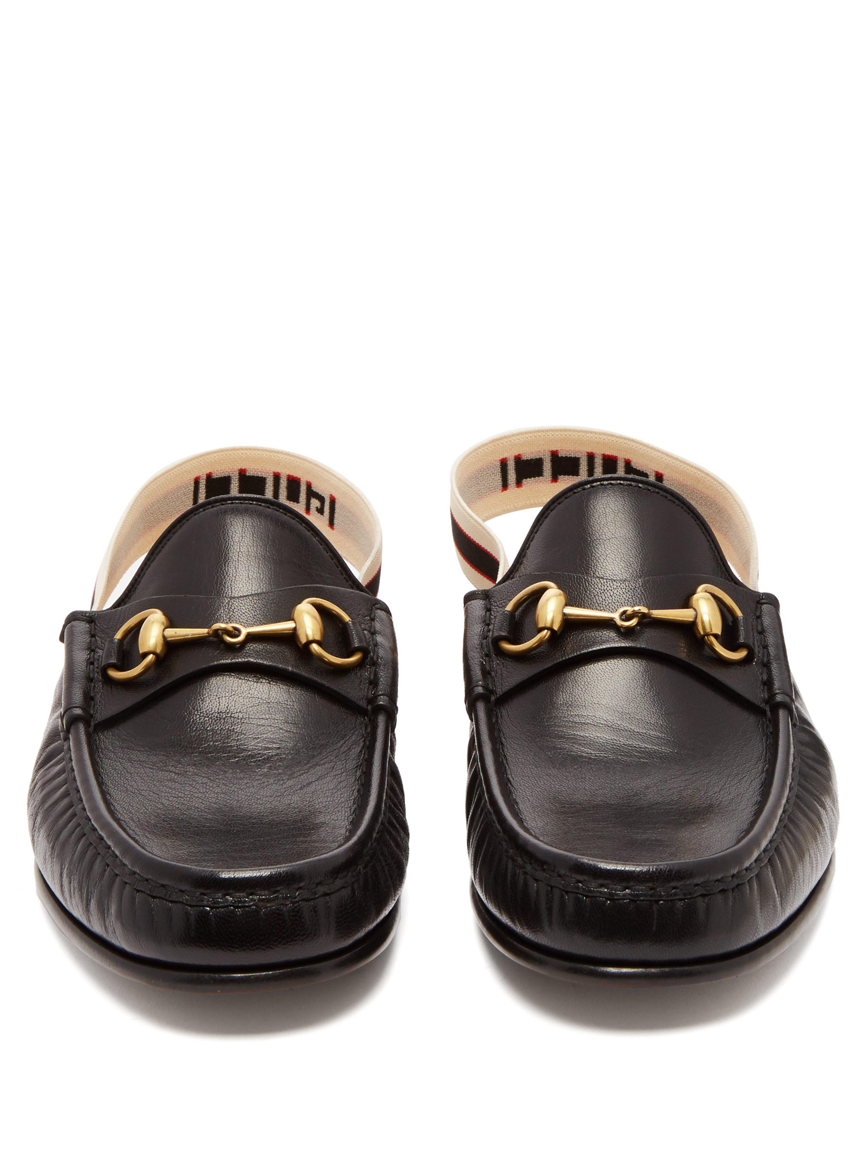 baa0ac0ac Gucci - Black Horsebit Slingback Strap Backless Leather Loafers for Men -  Lyst. View fullscreen