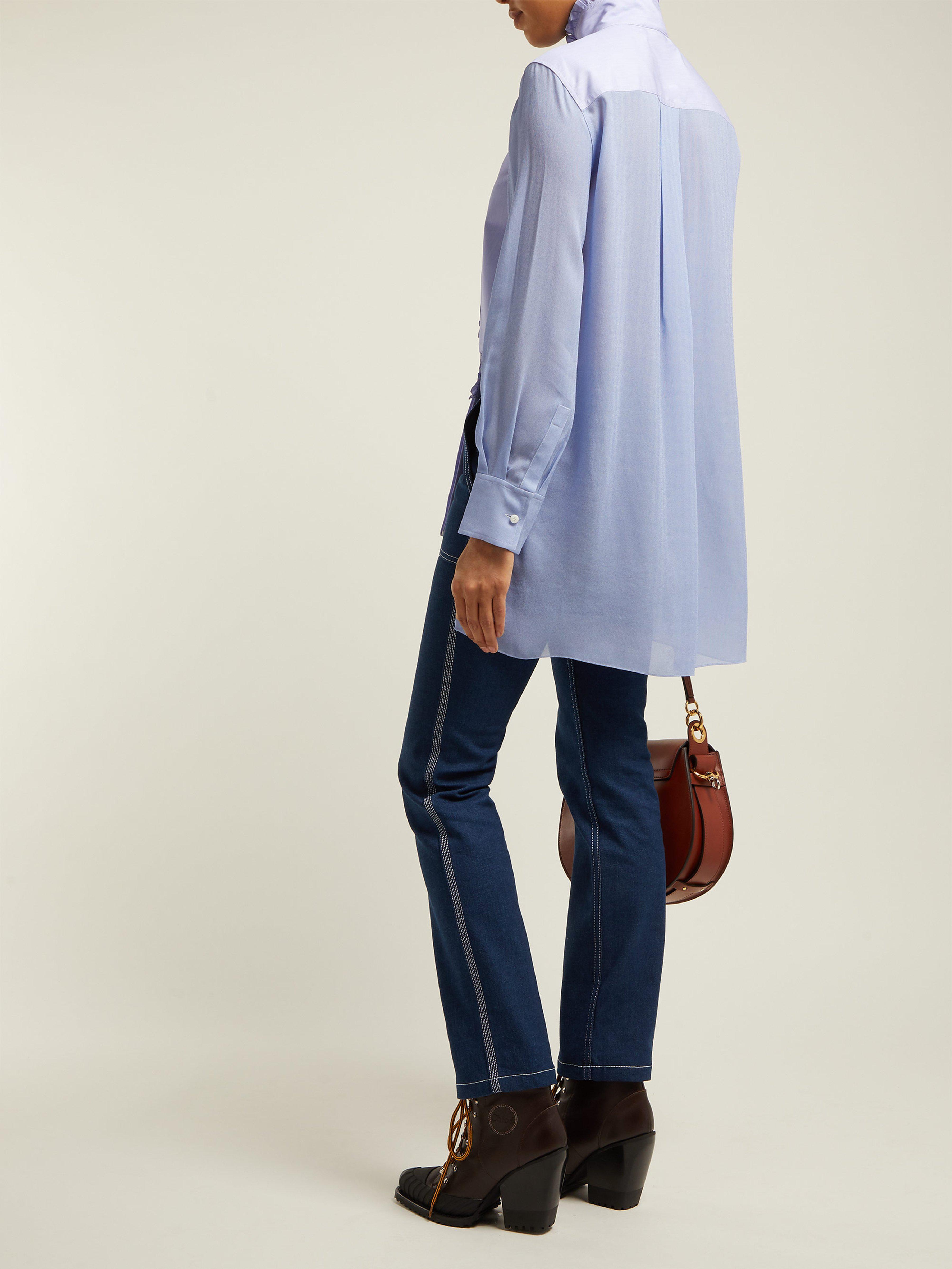 c302e242543ca Chloé Ruffle Trim Cotton Shirt in Blue - Lyst