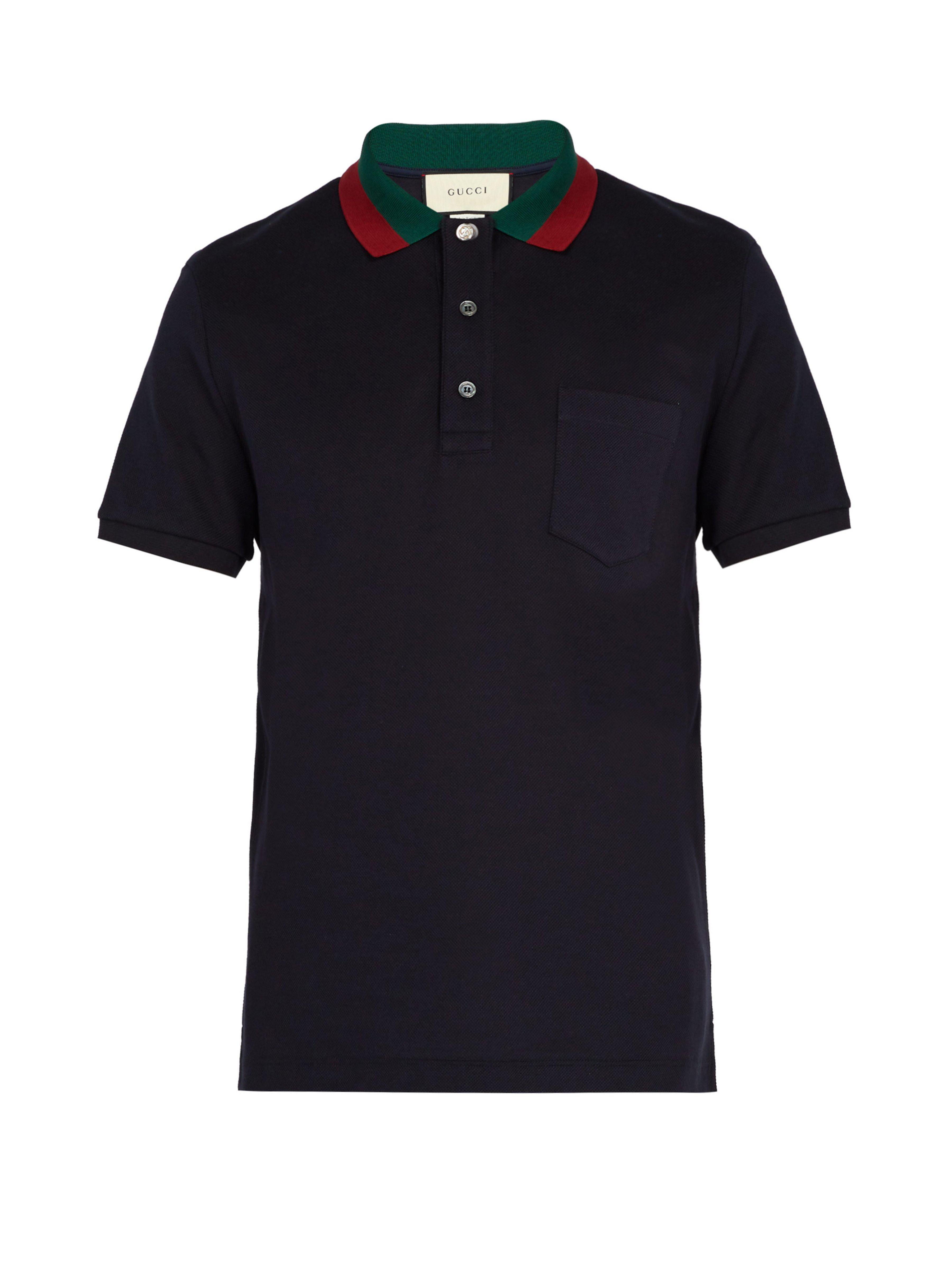 5cdbf71a1 Gucci - Blue Web Striped Collar Polo Shirt for Men - Lyst. View fullscreen