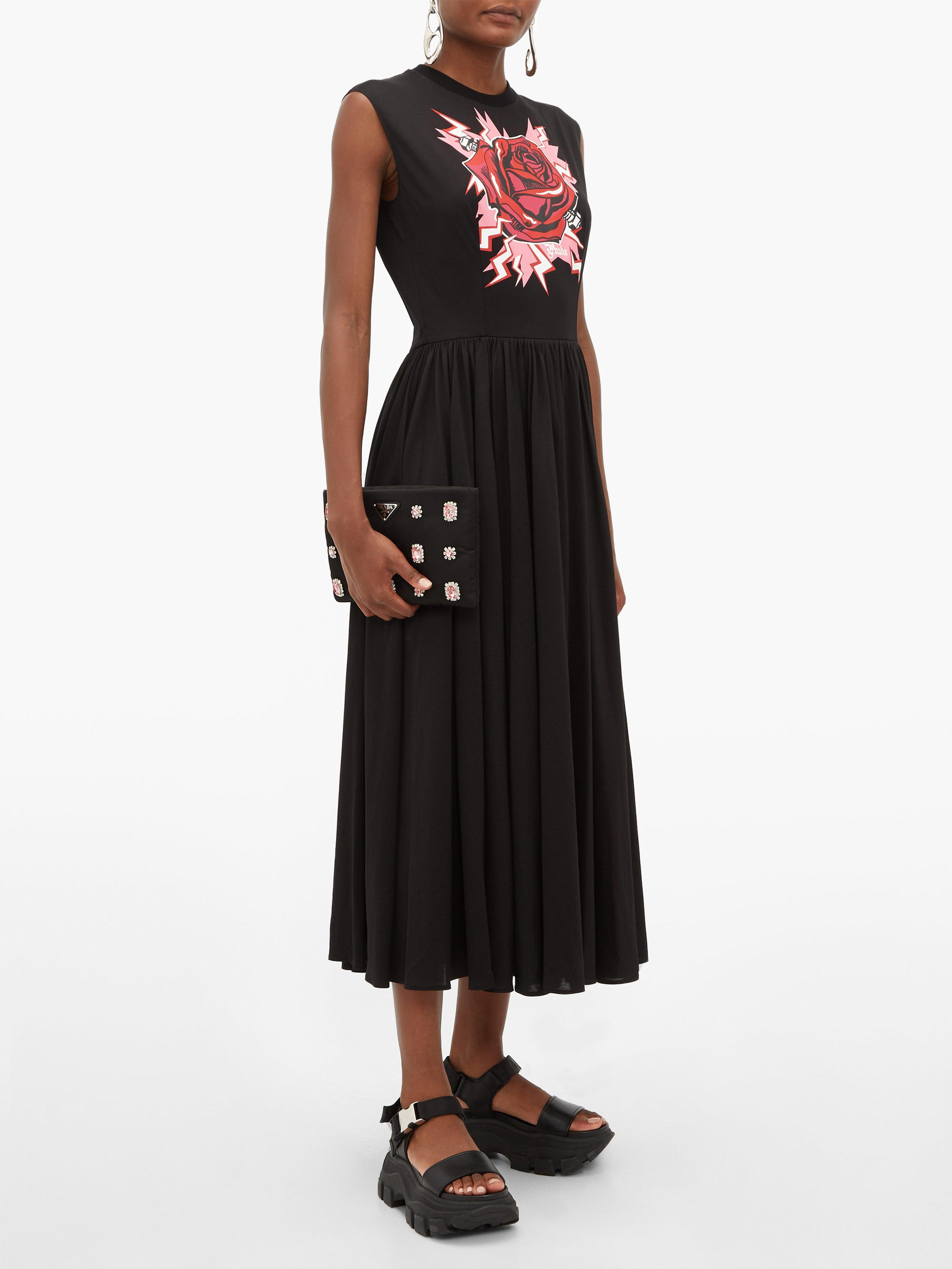 Robe midi en coton à imprimé Electric Rose Prada en coloris Noir