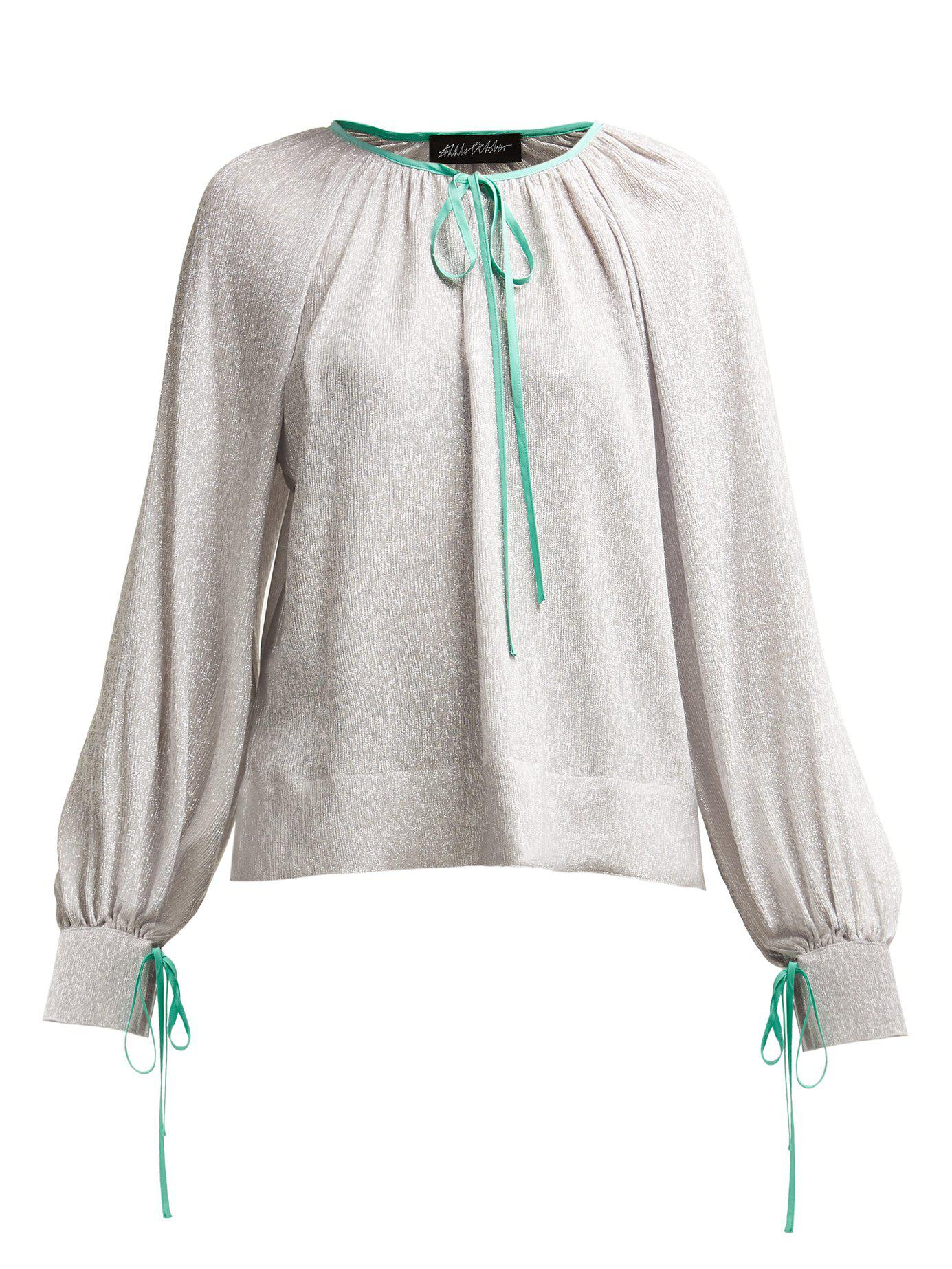 5a1843bf5b547b Lyst - Anna October Contrast Piped Silk And Lamé Blouse in Metallic