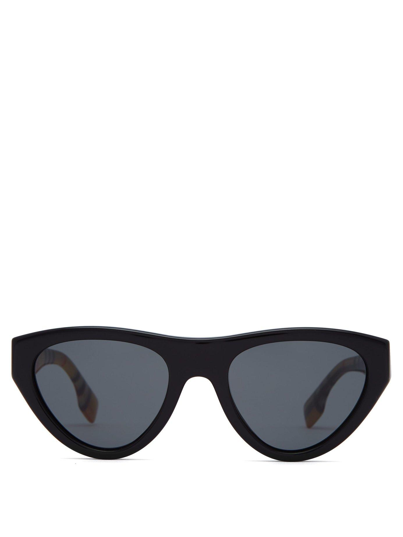9d3dd8ae2ccd Lyst - Burberry Vintage Check Cat Eye Sunglasses in Black