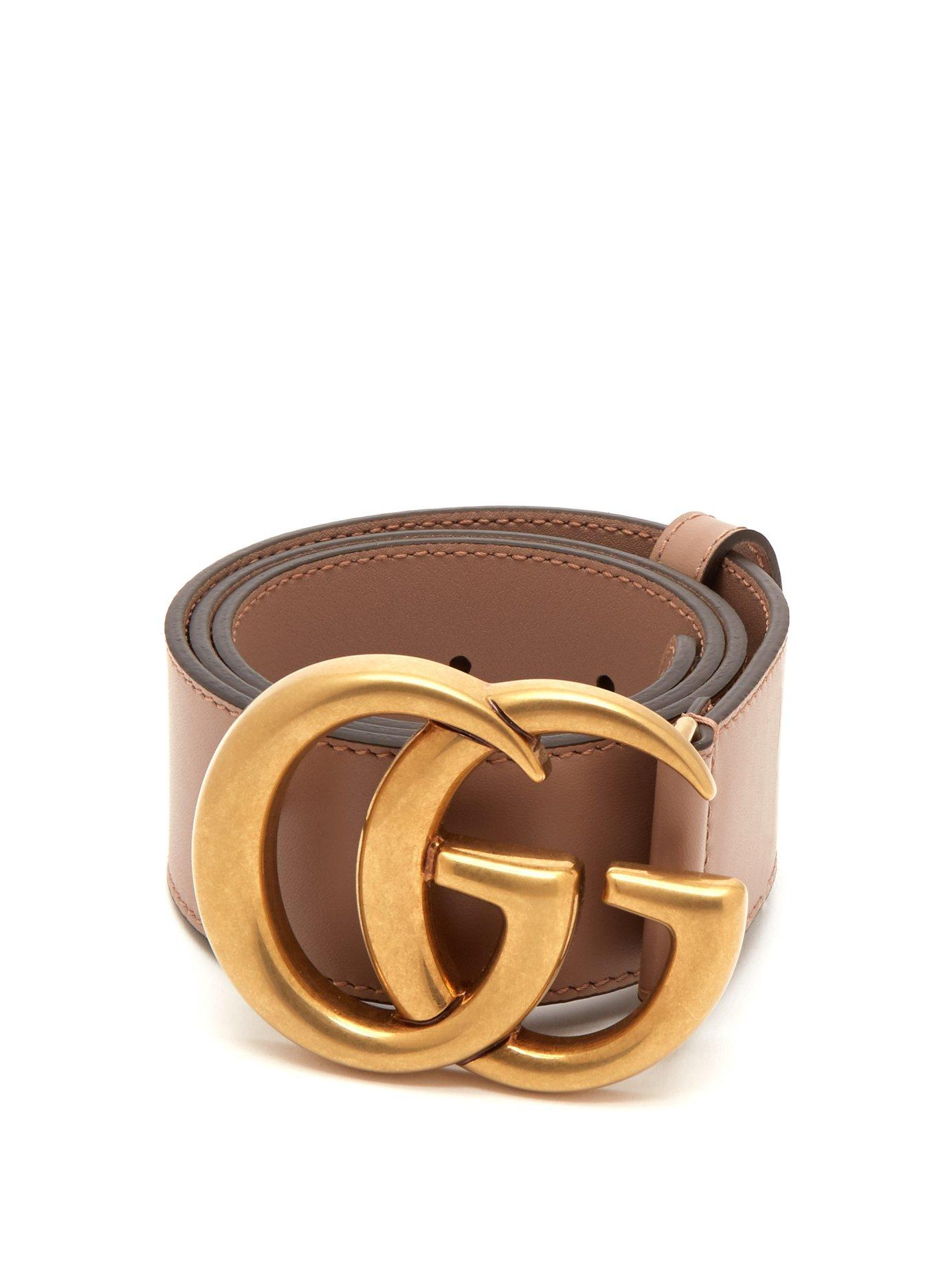 a779423513d8 Lyst - Gucci Gg Logo Leather Belt in Pink - Save 22%