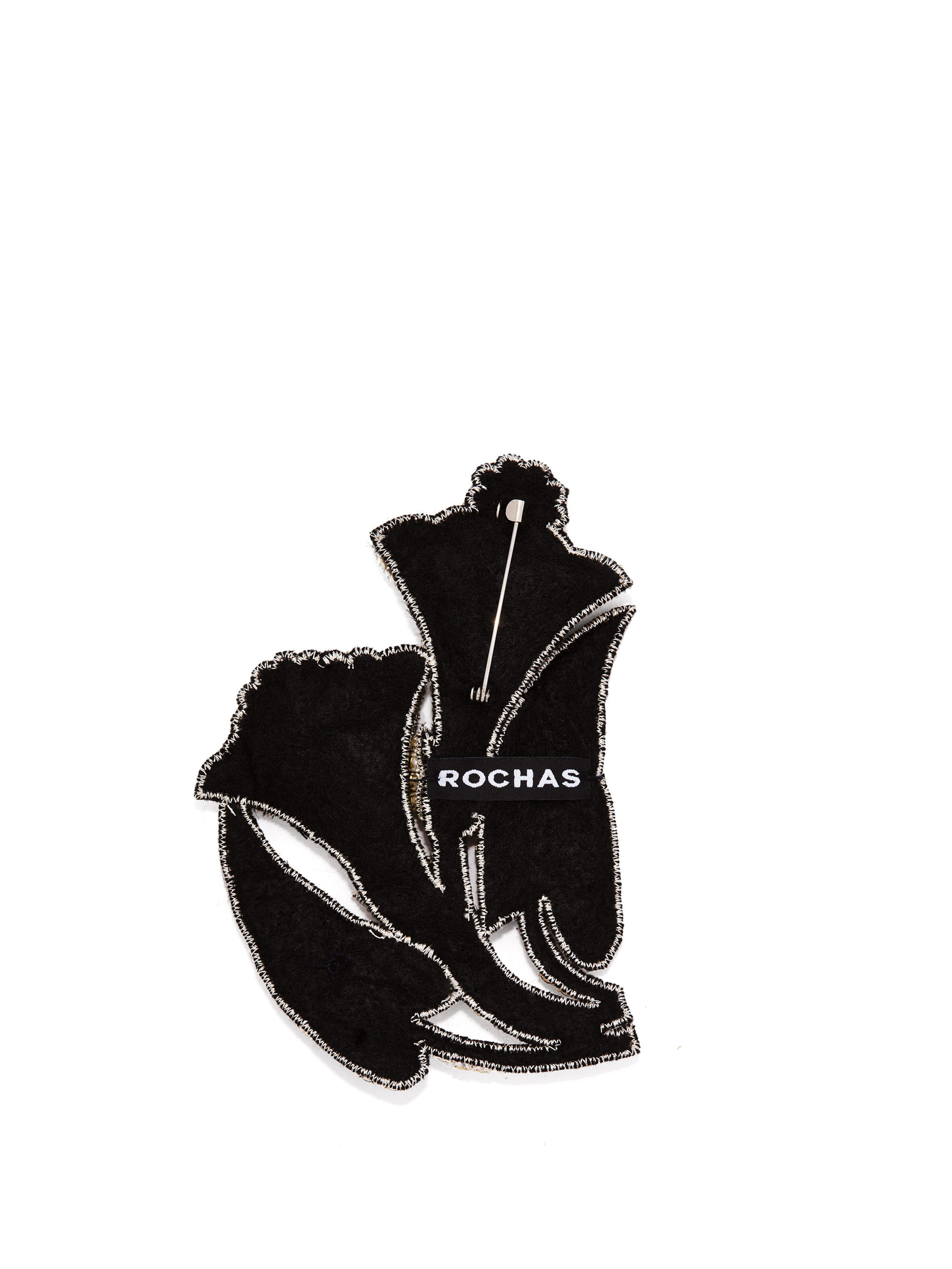 Rochas Crystal-embellished Lily Brooch in Silver (Metallic)