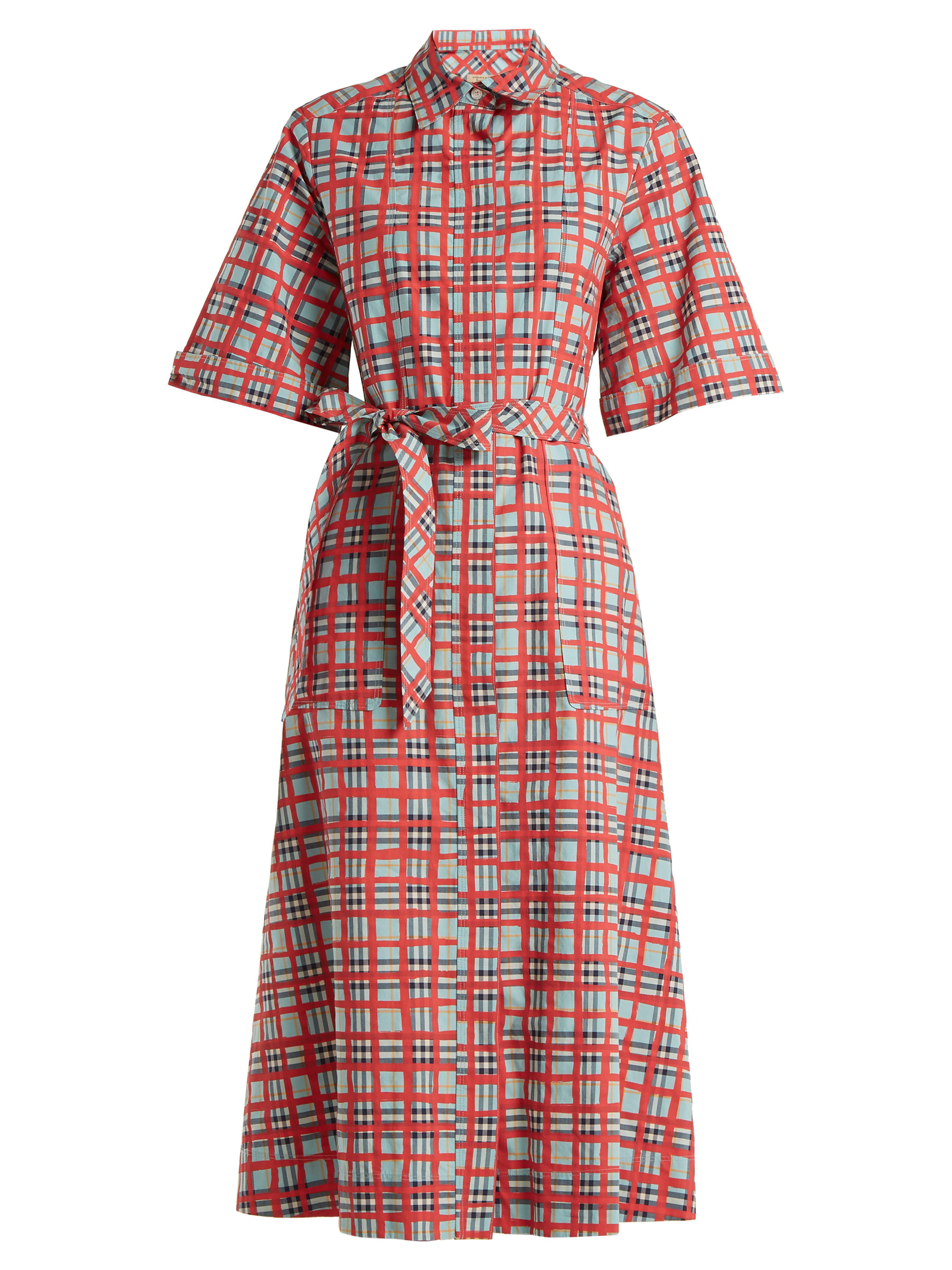Lyst - Robe-chemise en coton à carreaux Carmen Burberry en coloris Rouge ff71f42a3db