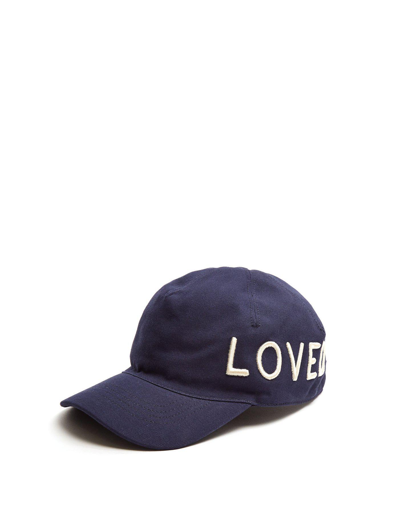 c63161e3fdf Lyst - Gucci Logo Embroidered Cotton Cap in Blue for Men