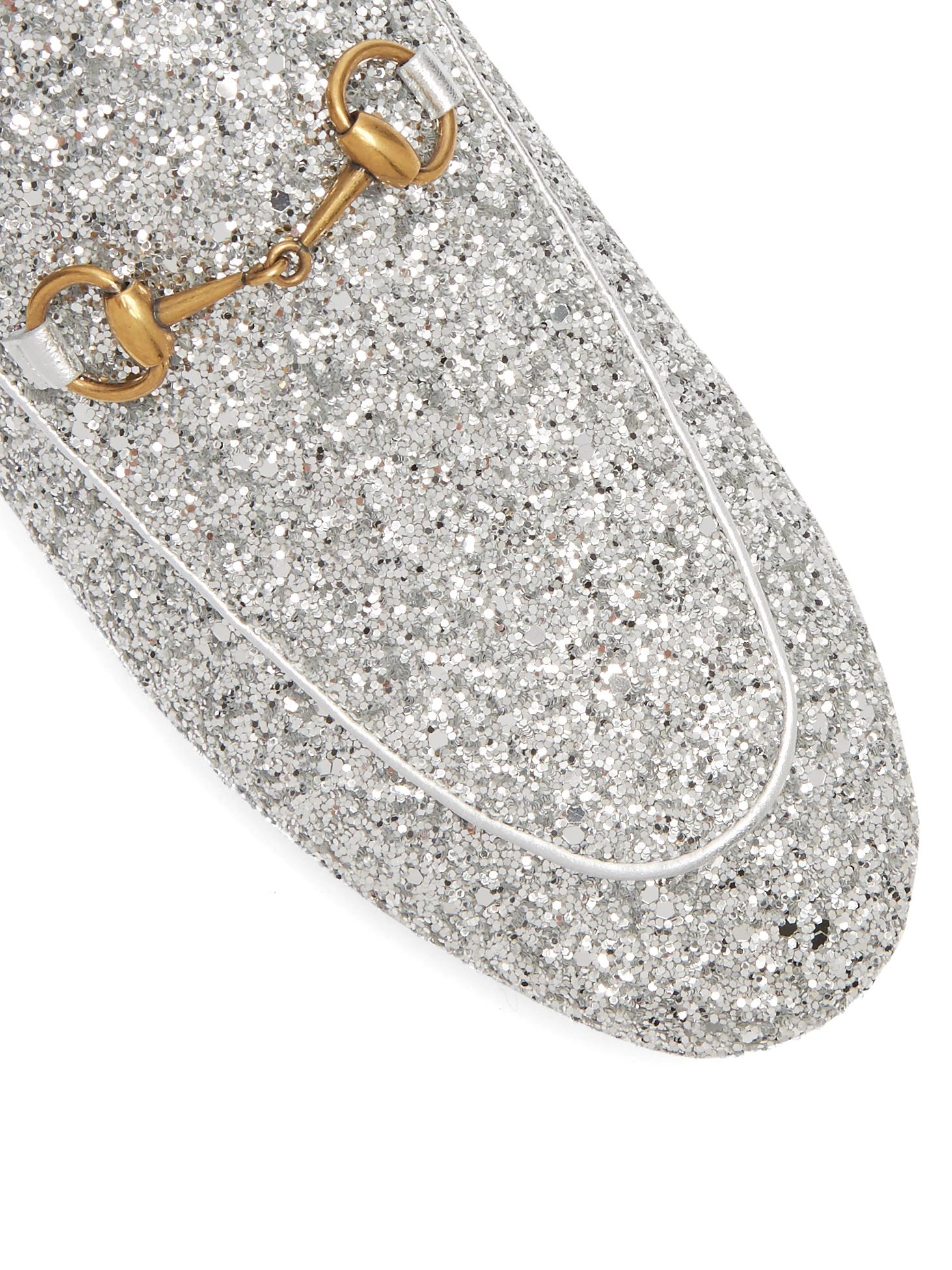 6e393a38d589 Gucci Princetown Glitter Backless Loafers in Metallic - Lyst