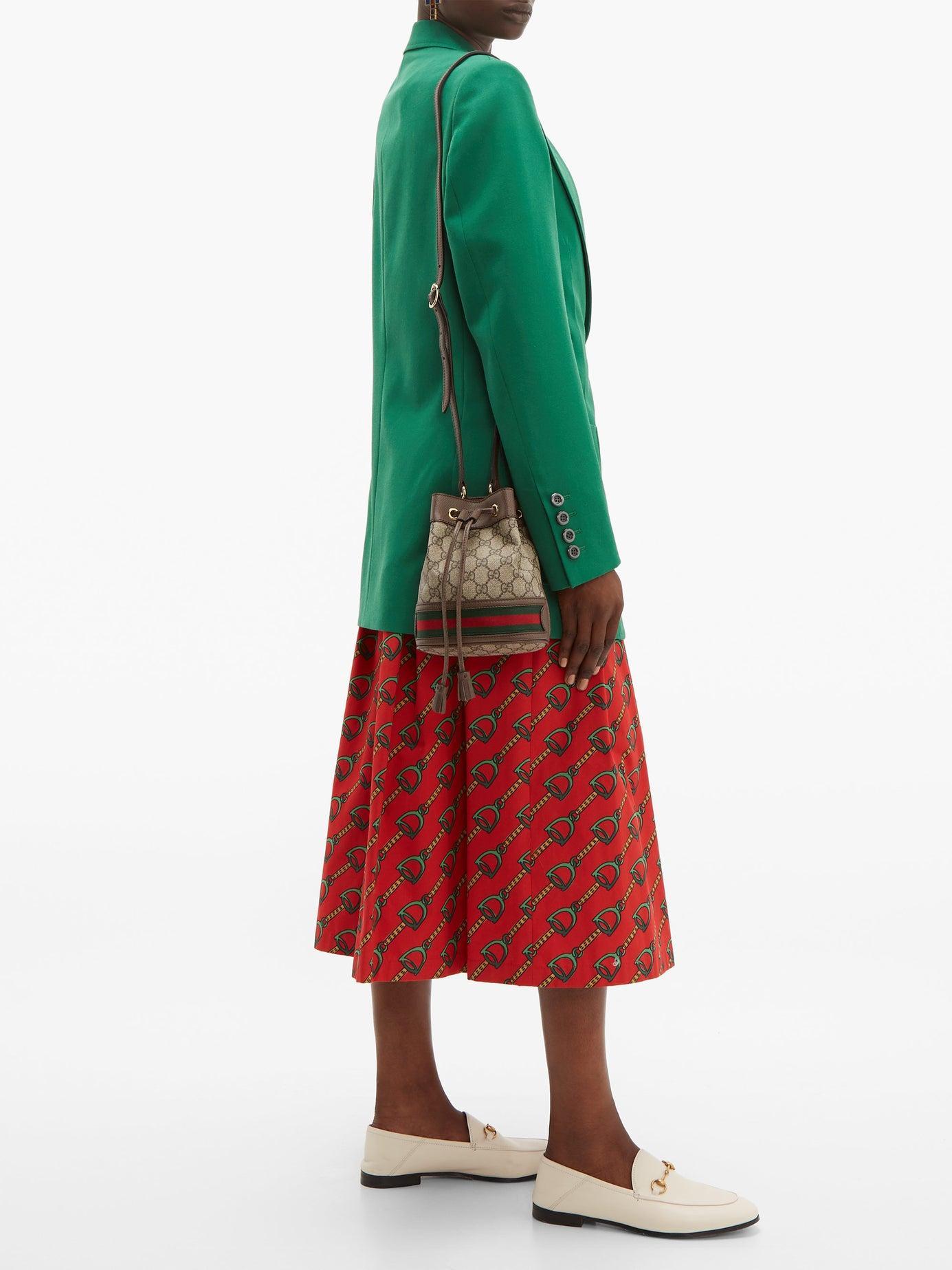 a8ba97a96675f9 Gucci Ophidia Mini Gg & Web Stripe Canvas Bucket Bag - Lyst