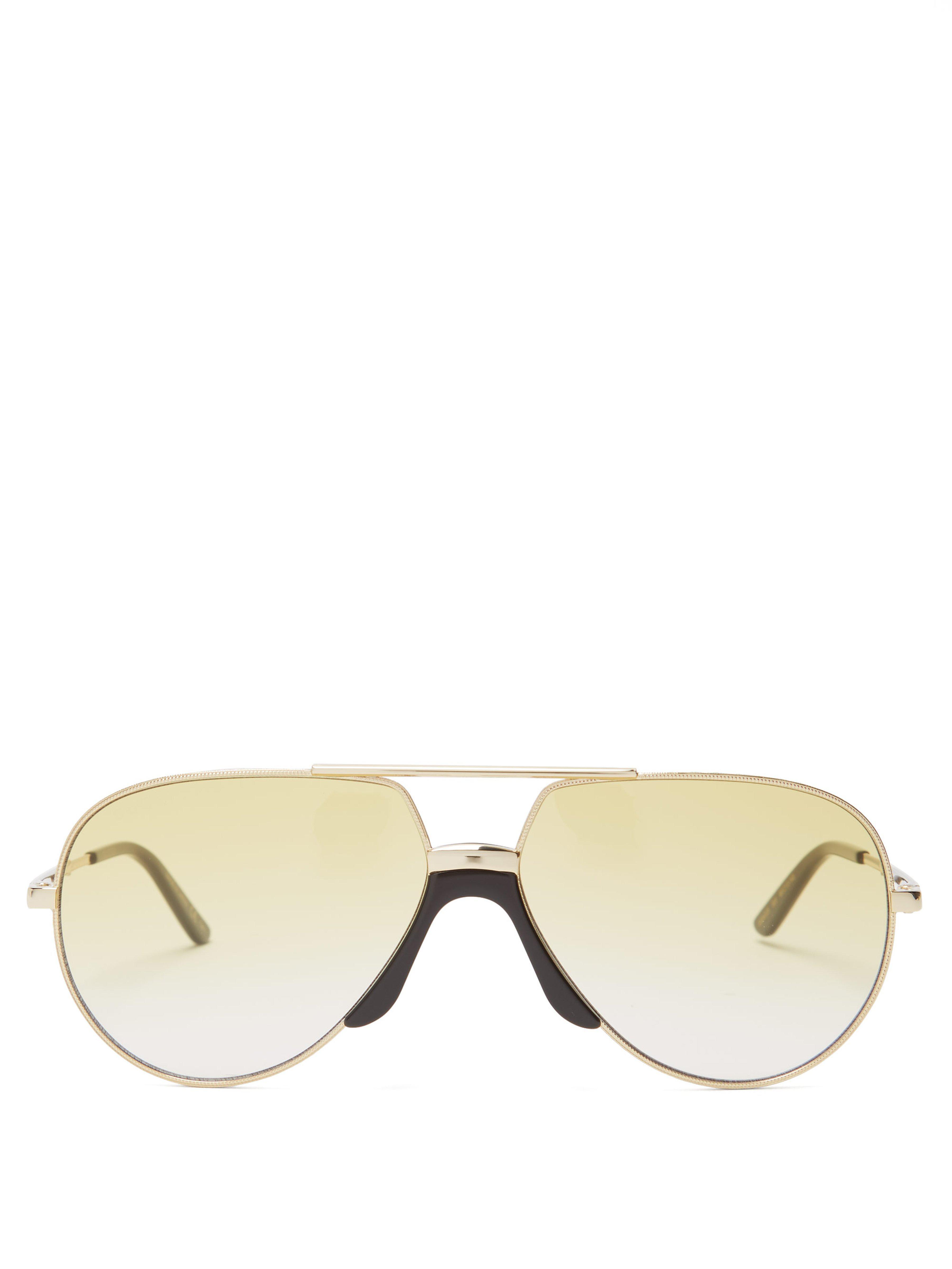 e605d87961a Gucci Aviator Frame Metal Sunglasses in Metallic for Men - Lyst