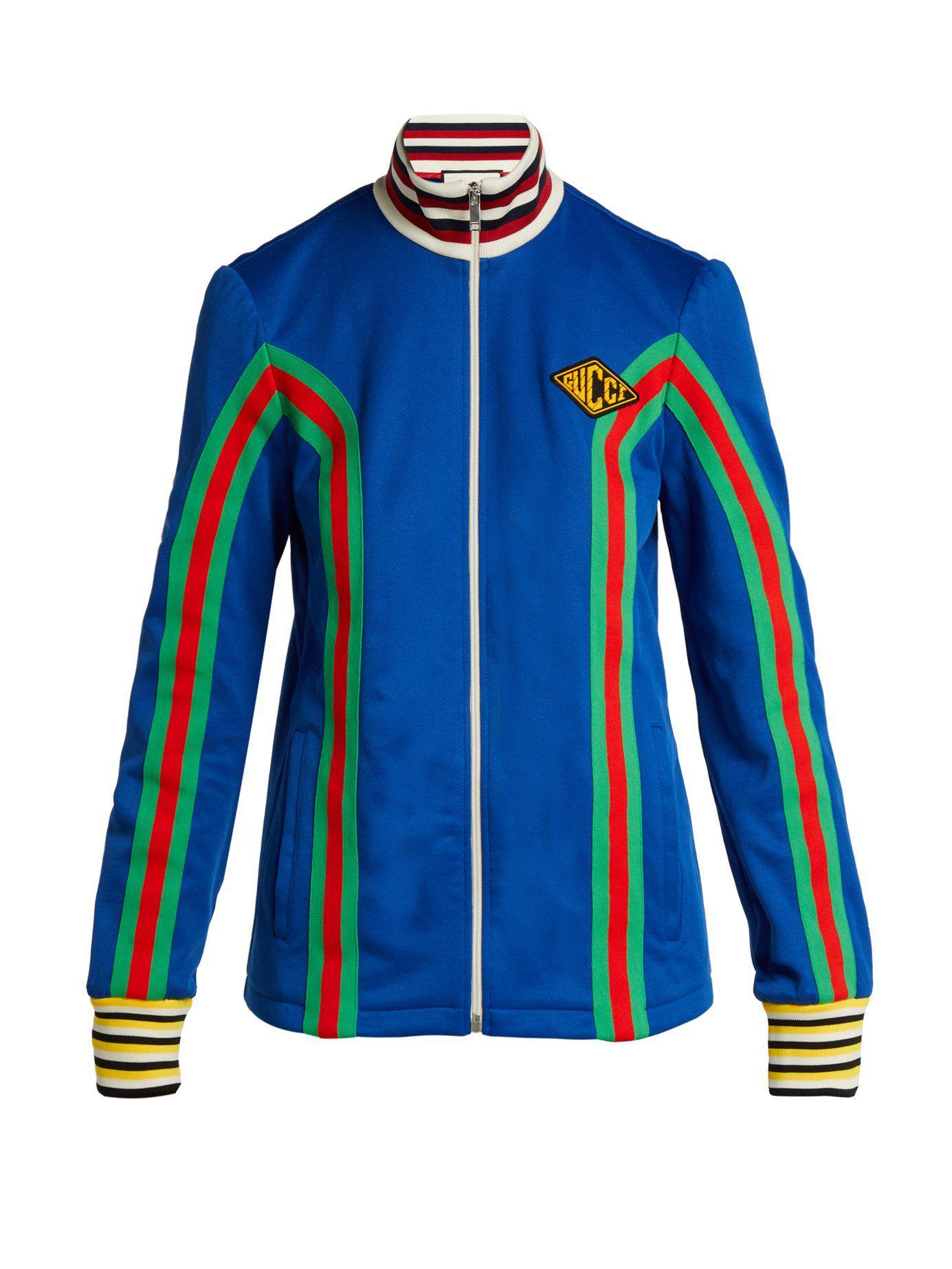 a06bd481b11 Lyst - Gucci Logo Embellished Stretch Cotton Track Jacket in Blue