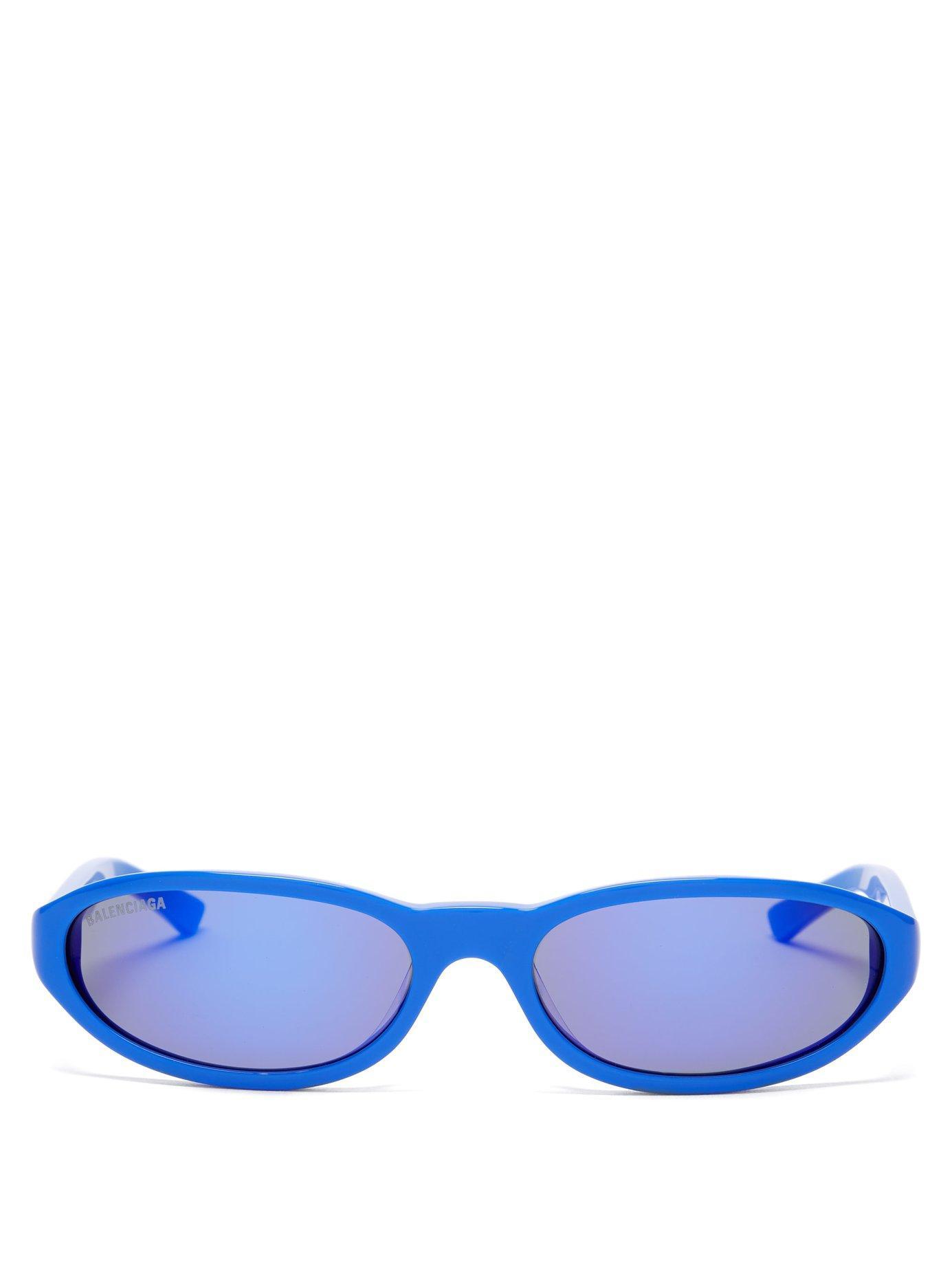 be98b7197be Balenciaga - Blue Neo Oval Frame Acetate Sunglasses for Men - Lyst. View  fullscreen