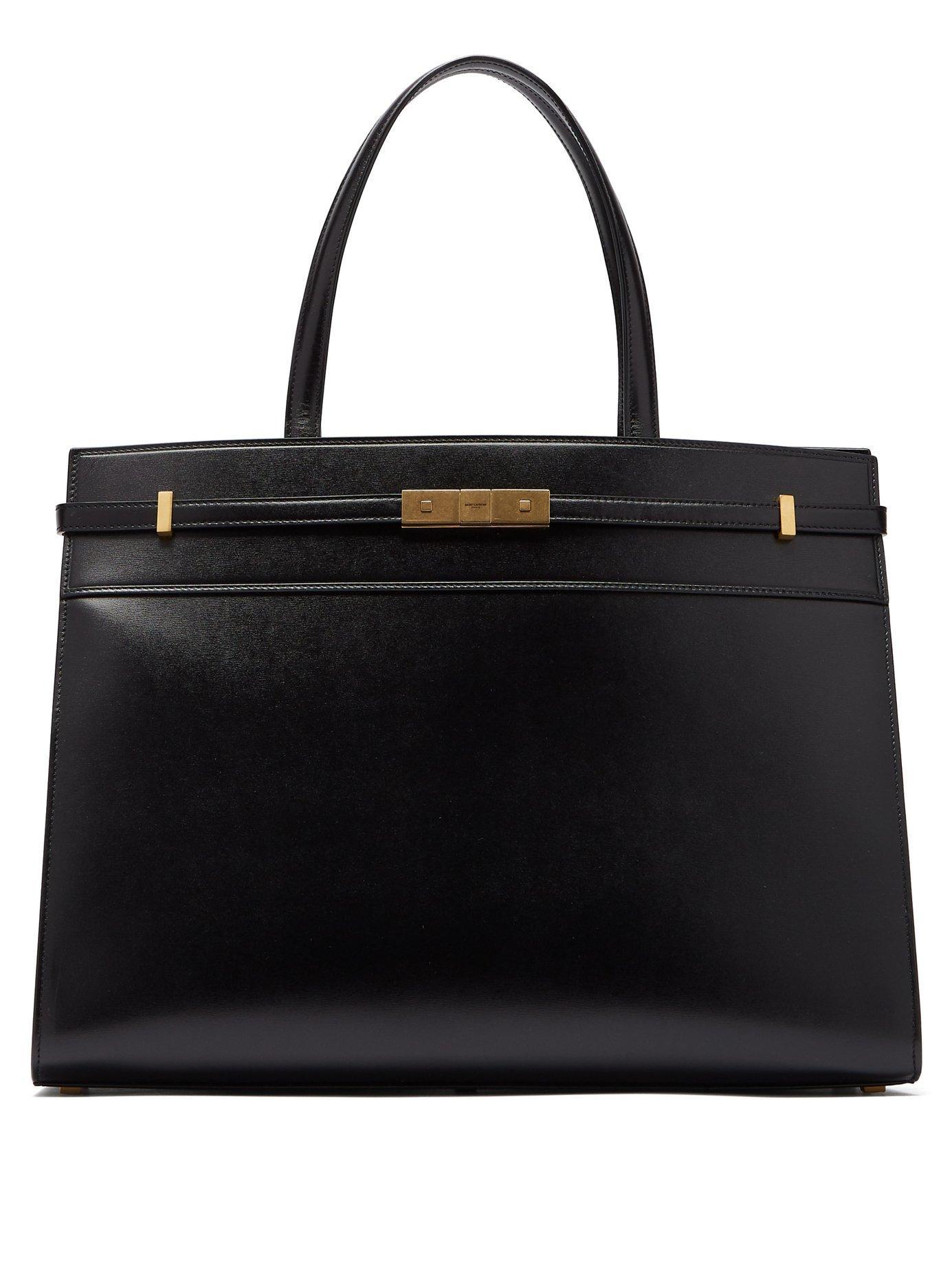 04625c1111a6 Lyst - Saint Laurent Manhattan Medium Leather Tote Bag in Black ...