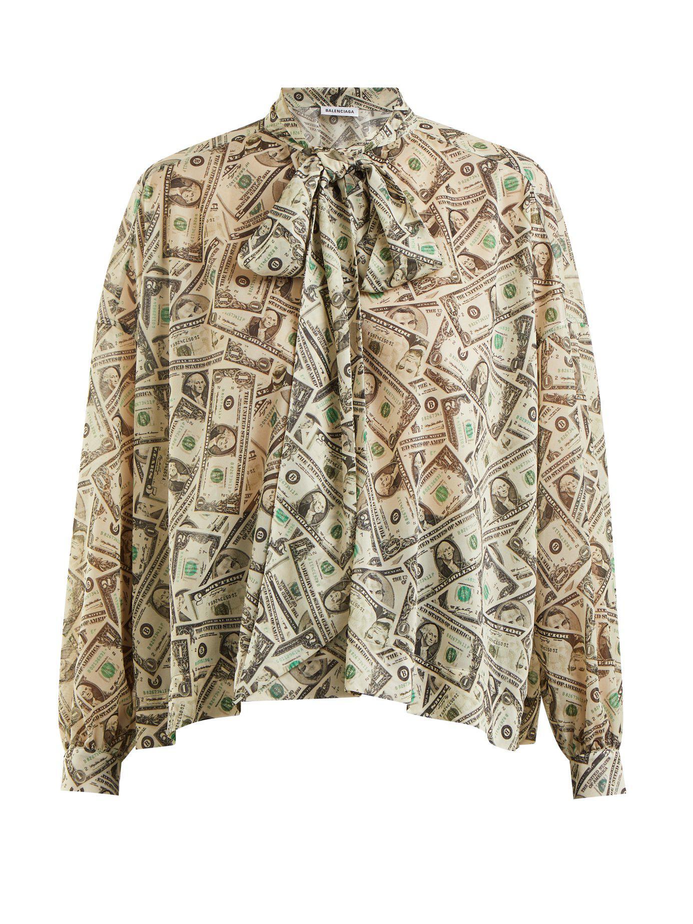Blouse Ruban Lyst Imprimé Dollar À Et Nouer Balenciaga mn0yNvwO8