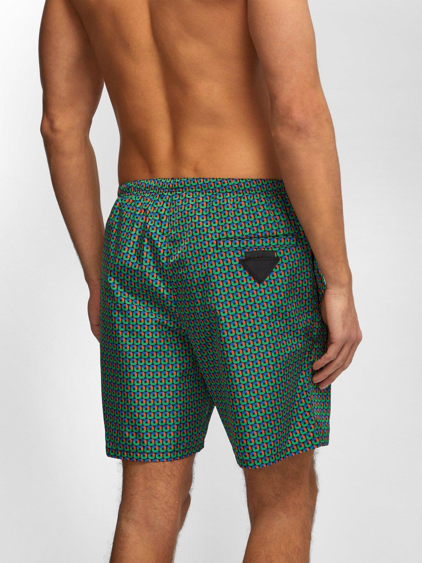 a24b0ee3db Prada - Green Puma Geometric Print Swim Shorts for Men - Lyst. View  fullscreen