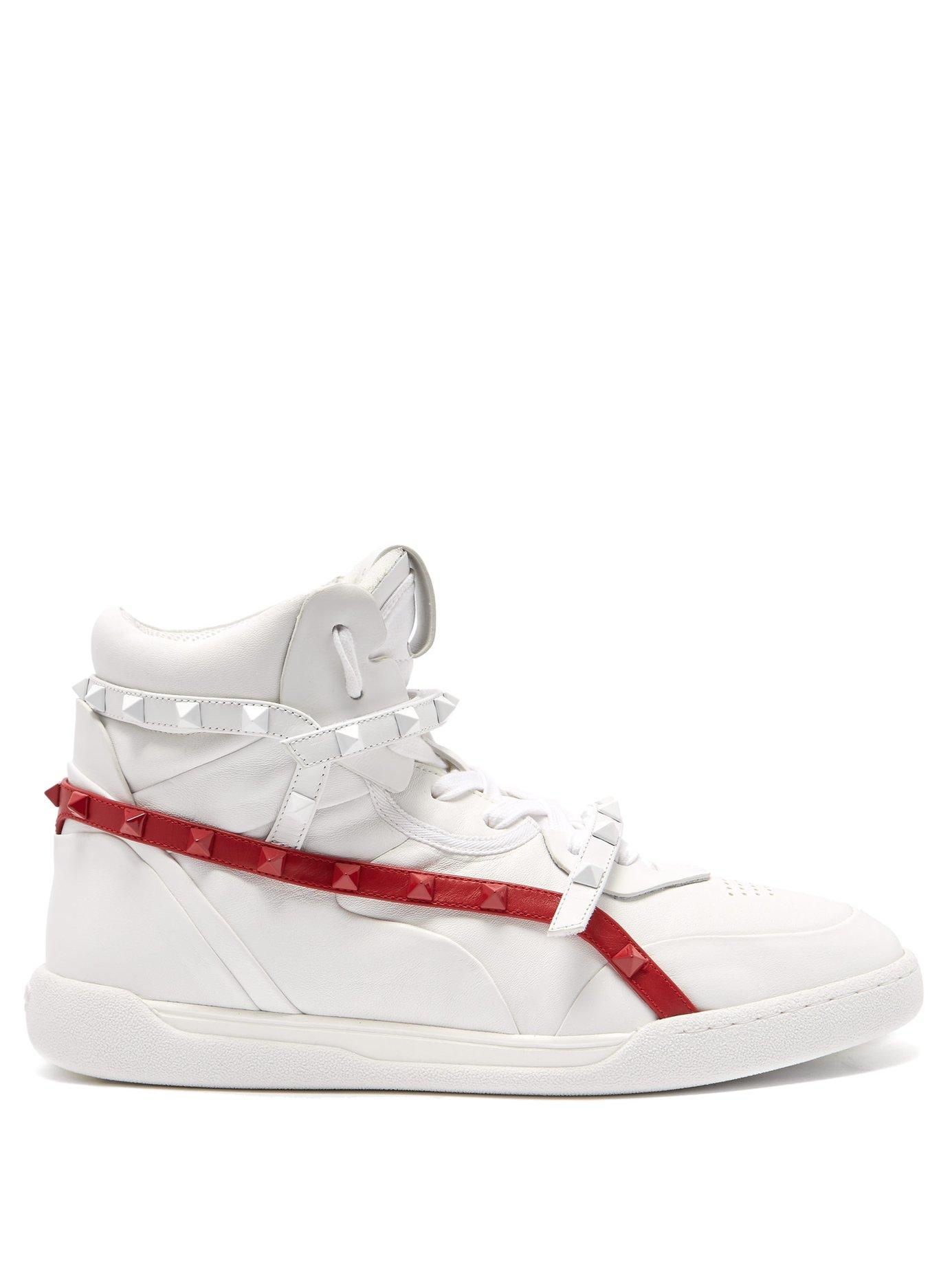 d27a682f258 Lyst - Valentino Rockstud Amor High Top Leather Trainers