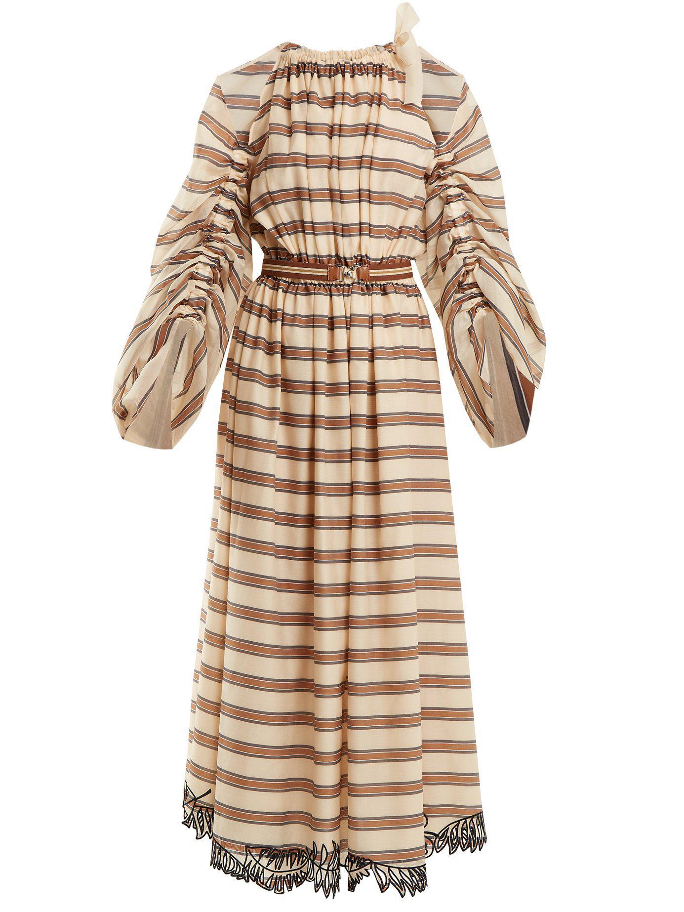 Lyst - Robe en coton mélangé rayée Fendi en coloris Neutre 9a2a0174bde