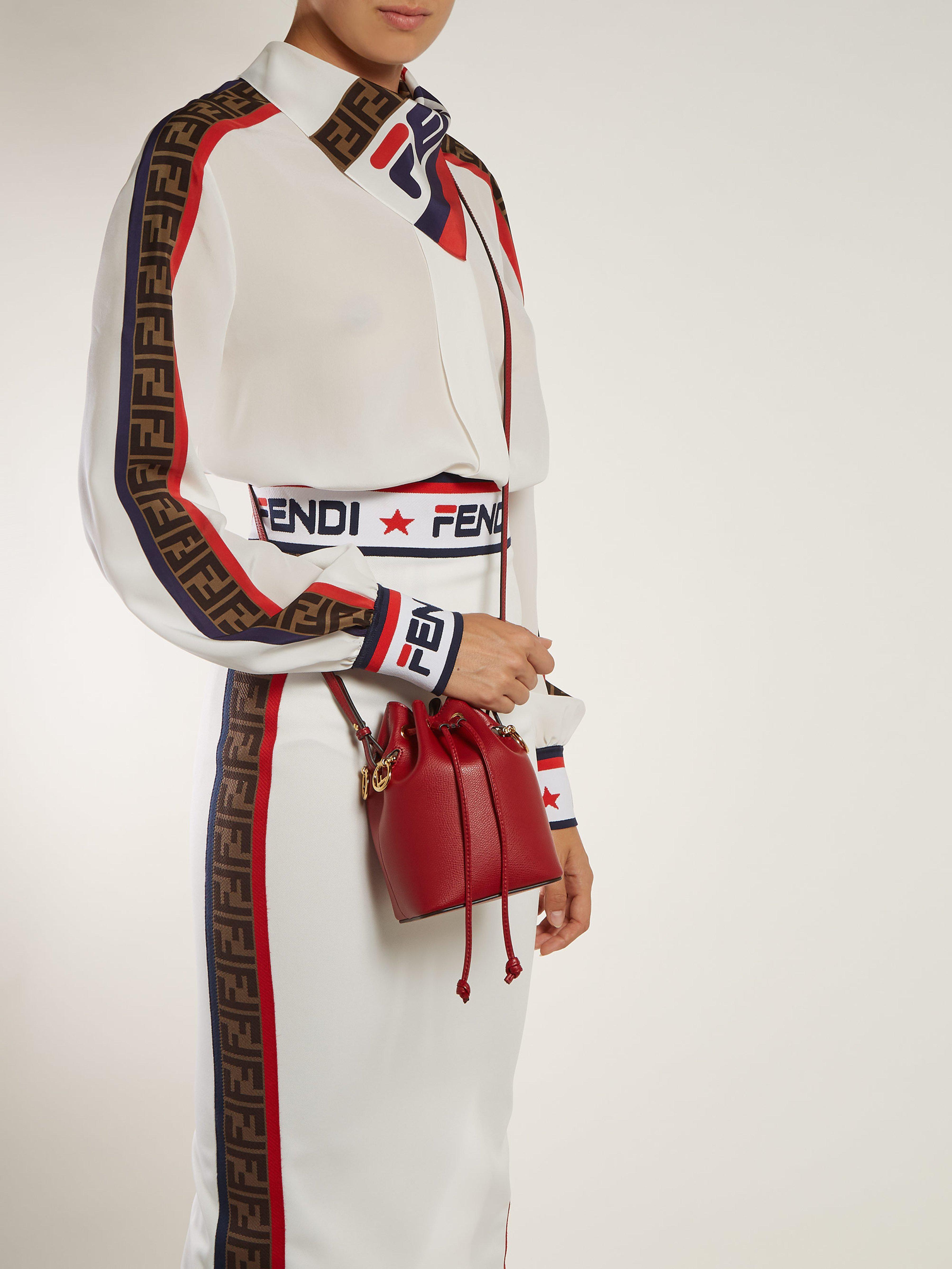 Fendi Mon Tresor Mini Leather Bucket Bag In Red Lyst