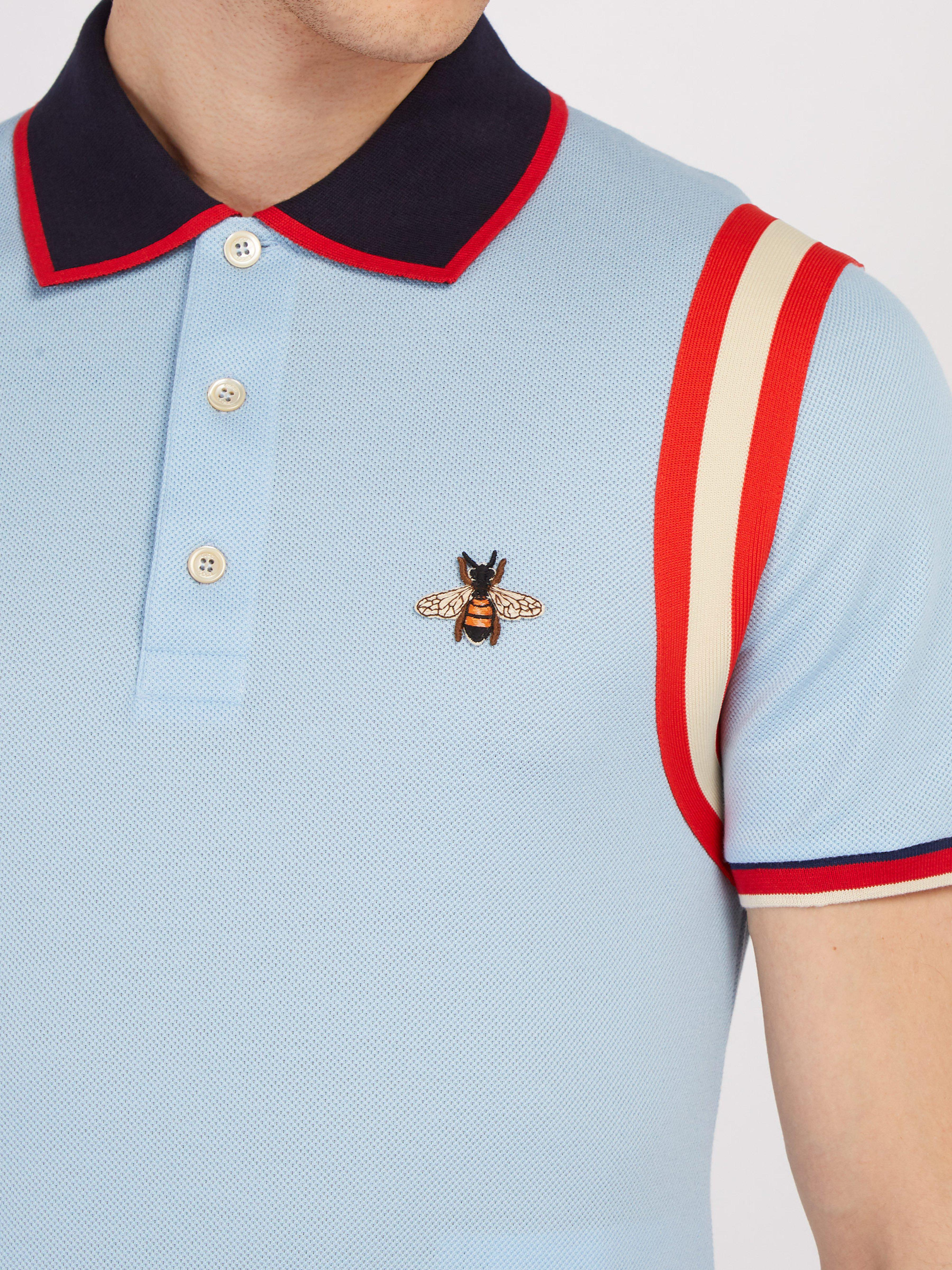 87684863 Gucci - Blue Cotton Polo With Bee for Men - Lyst. View fullscreen